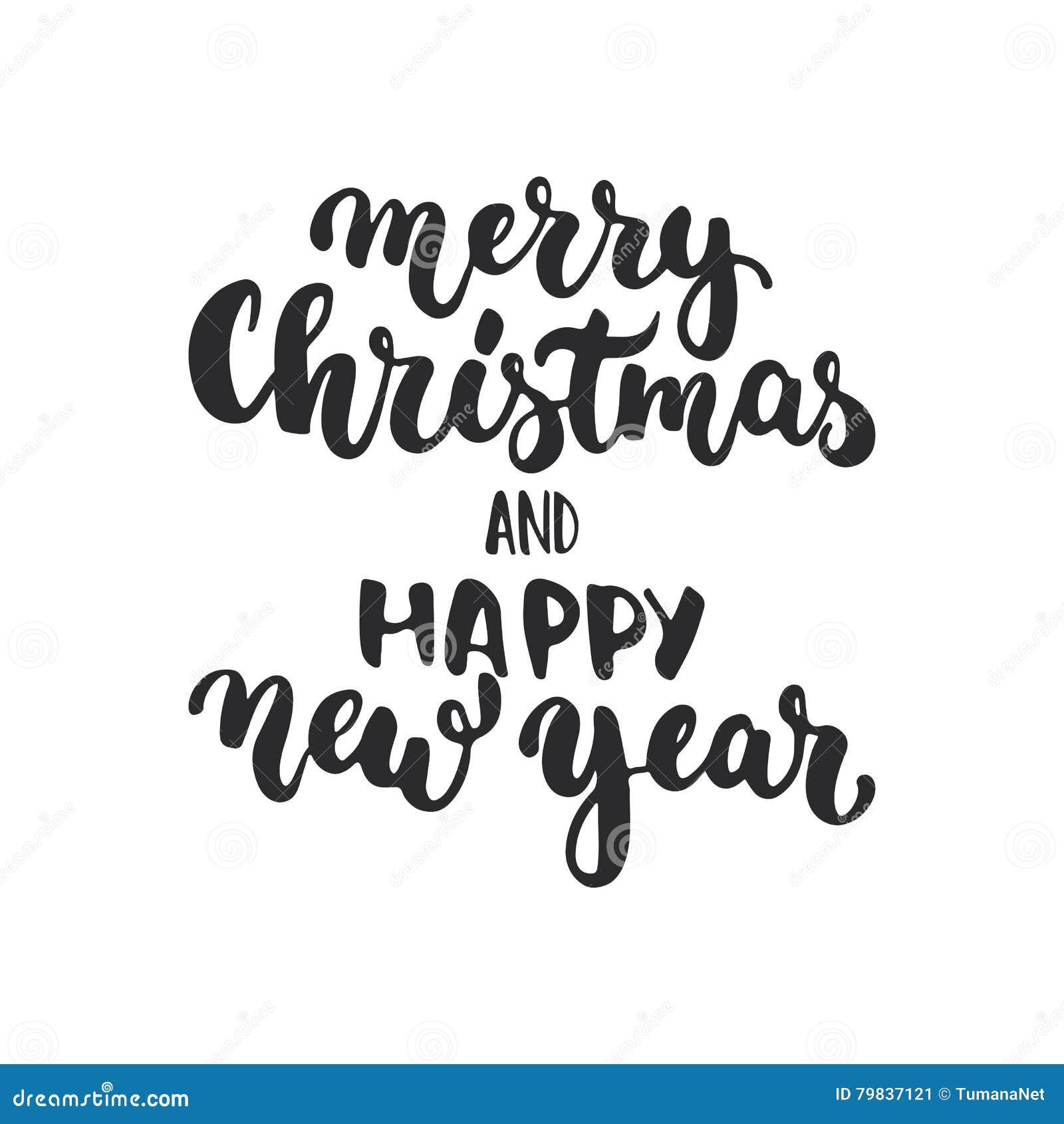 Frasi Natale E Buon Anno.Buon Natale E Buon Anno Frase Di Calligrafia Di Festa Dell