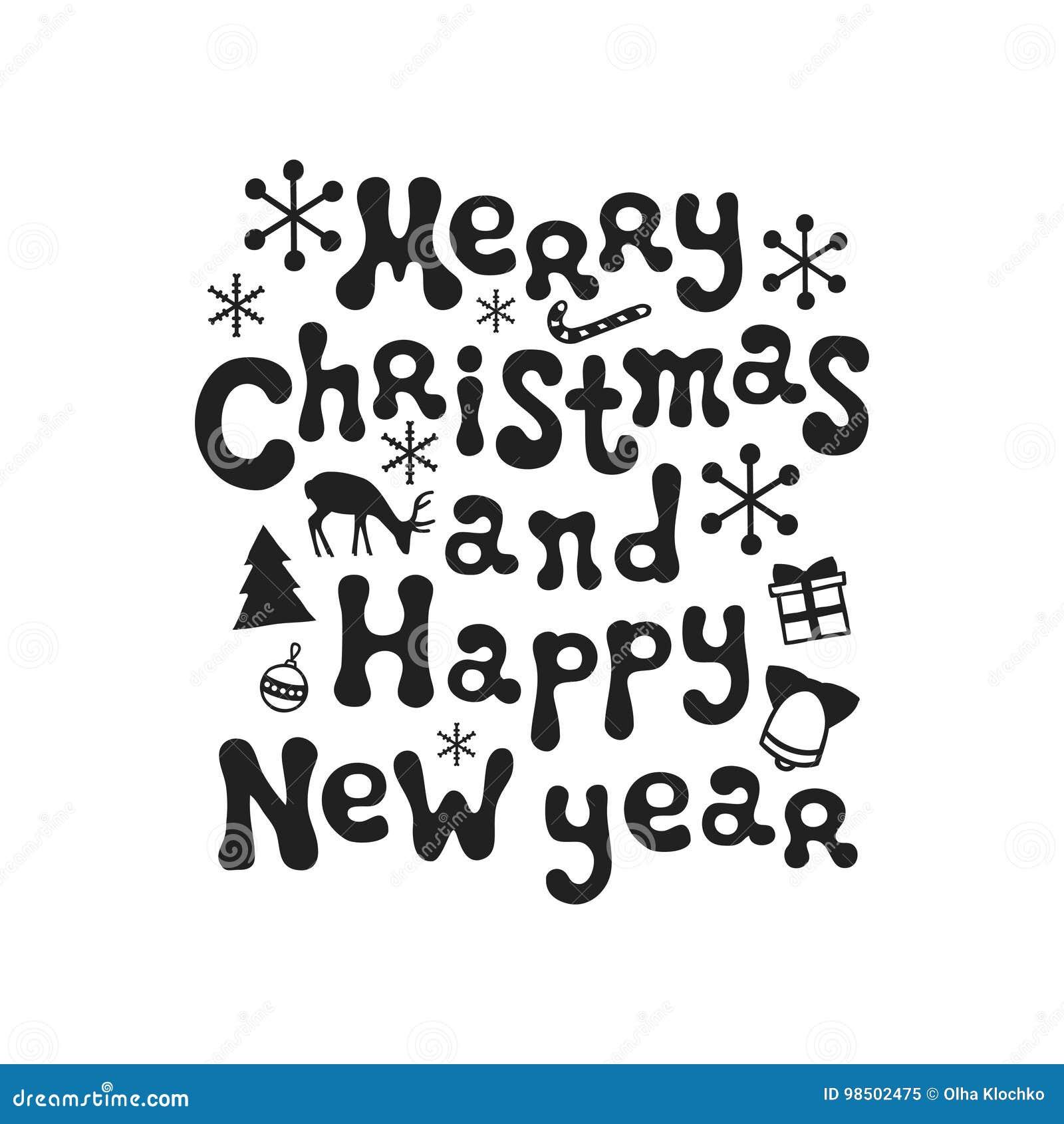 Frasi Natale E Buon Anno.Buon Natale E Buon Anno Frase Di Calligrafia La Spazzola Scritta A