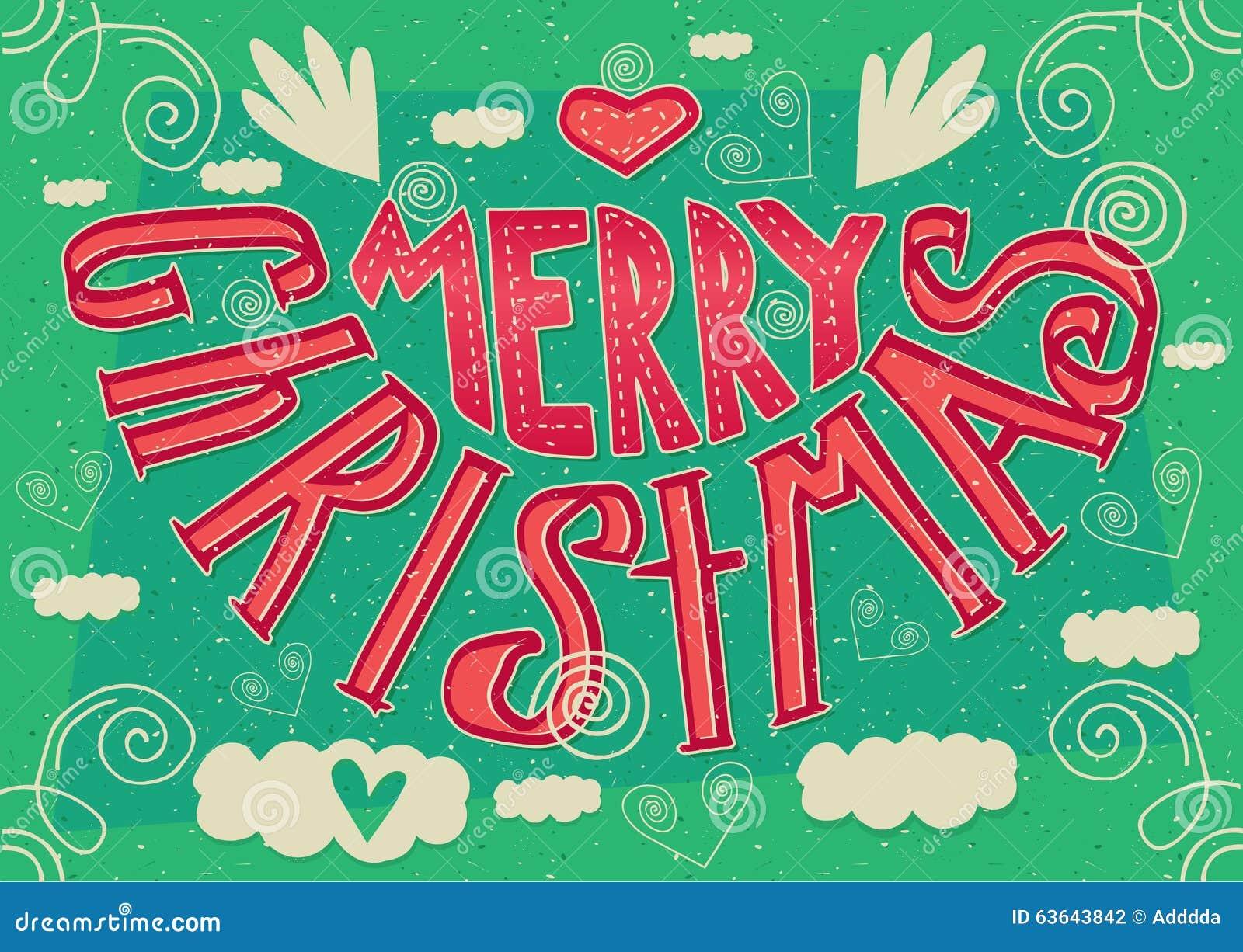 Auguri Di Natale 105.Buon Natale Fatto A Mano Della Cartolina Illustrazione Vettoriale