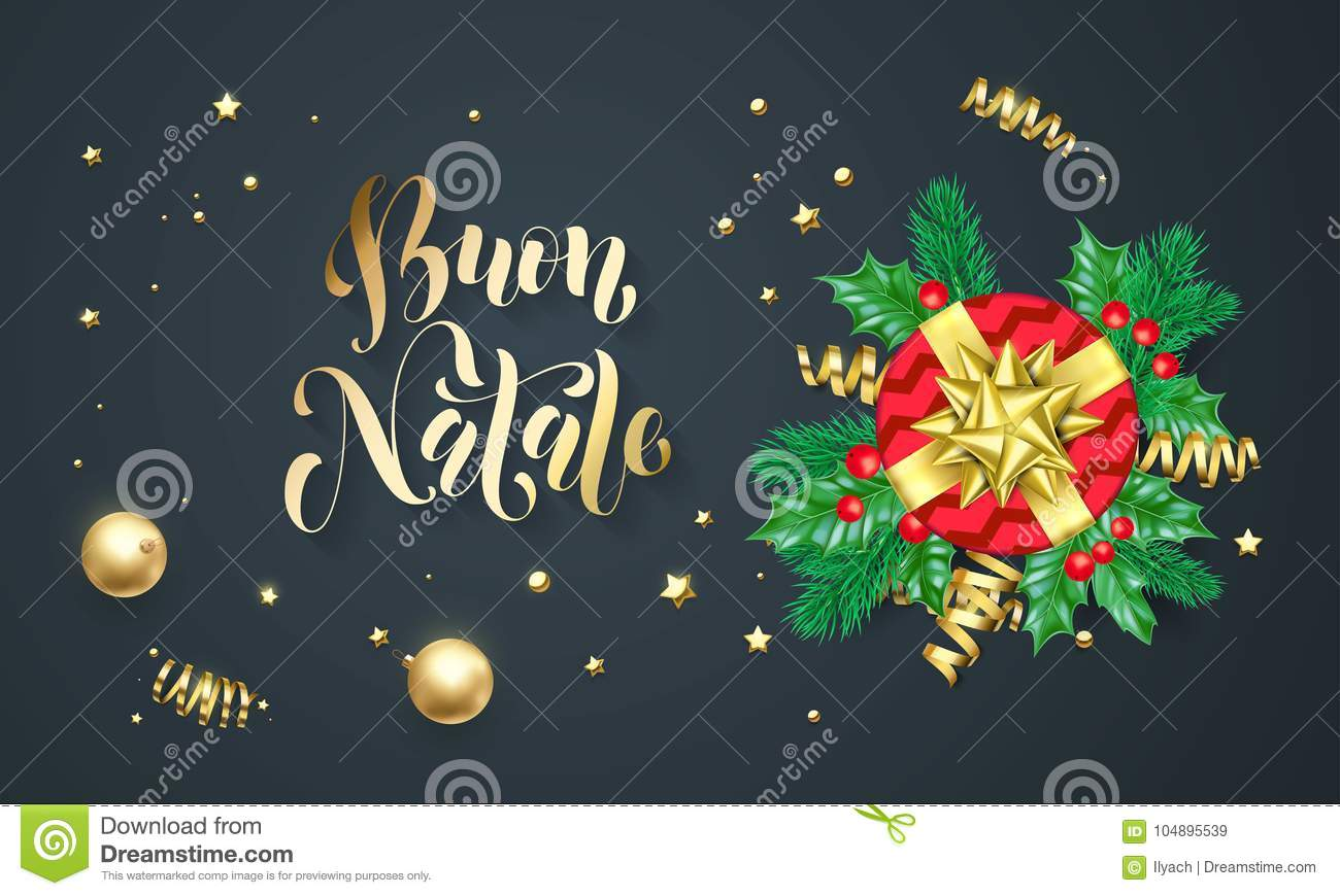 Buon natale italian merry christmas holiday golden calligraphy and download buon natale italian merry christmas holiday golden calligraphy and gold decoration greeting card template m4hsunfo