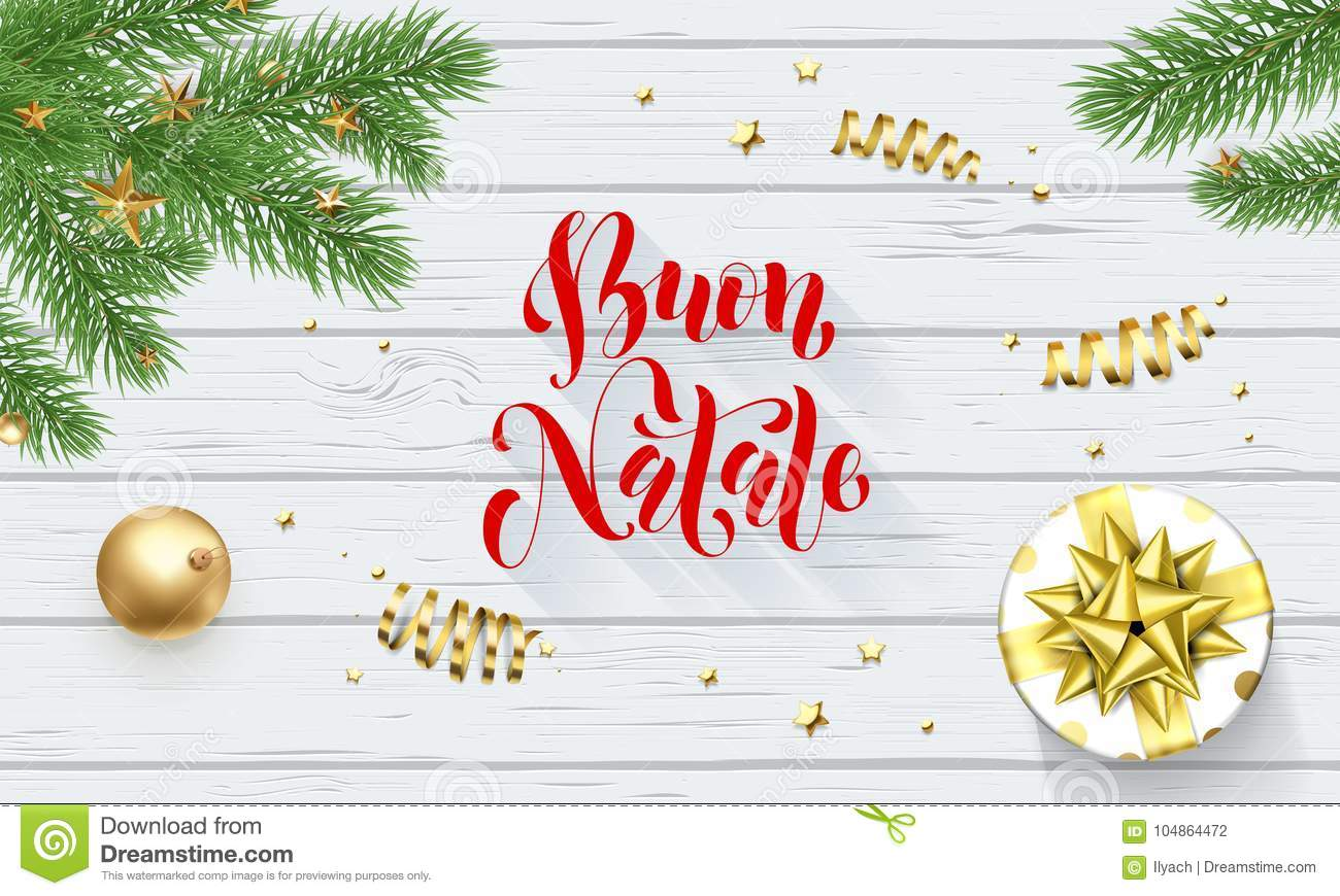 Buon Natale Italian Merry Christmas Holiday Golden Decoration And ...