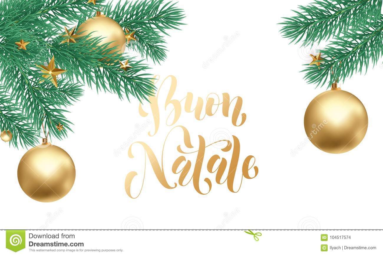 Buon Natale Italian Merry Christmas Holiday Golden Hand Drawn ...