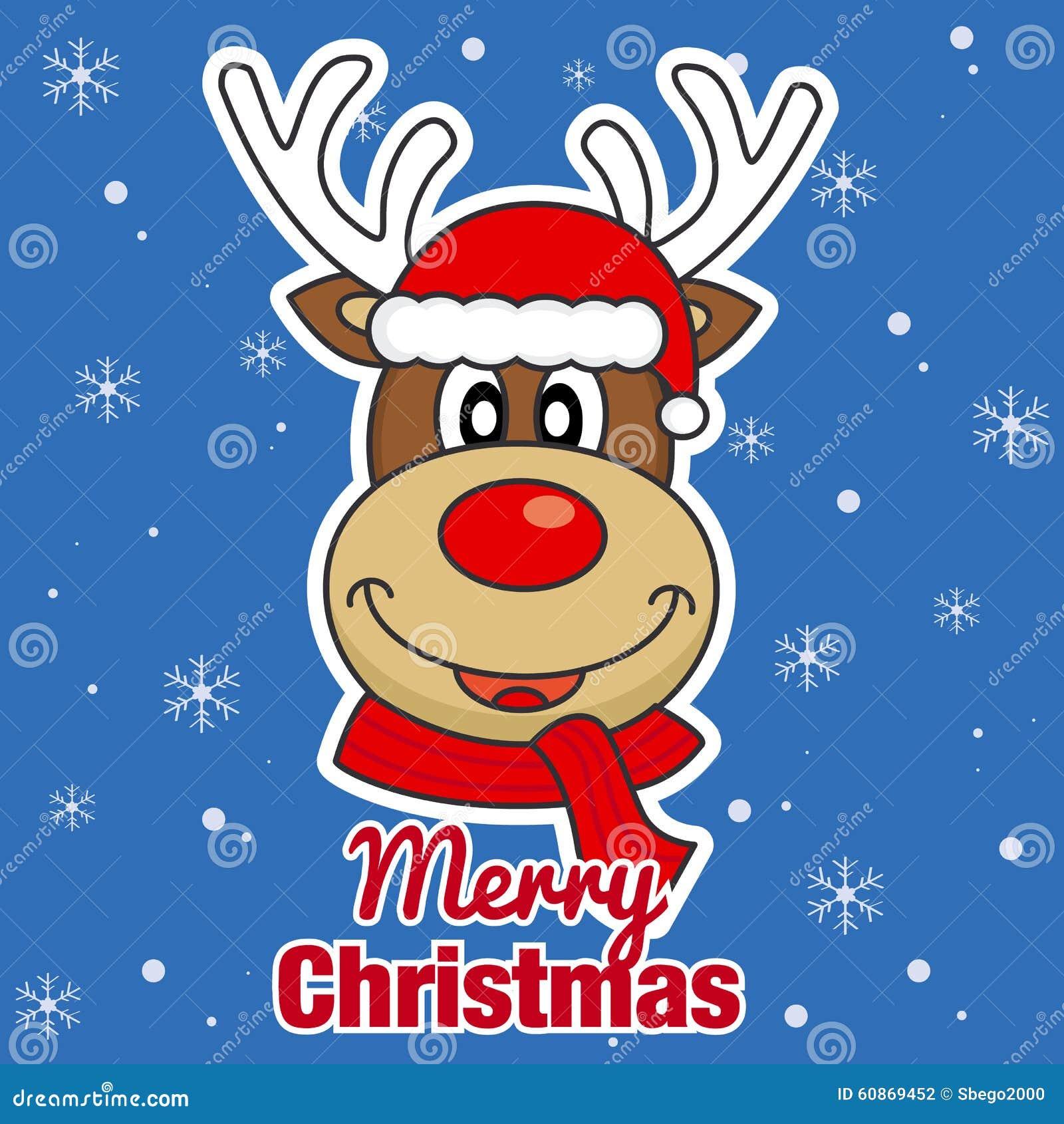 Immagini Natale Renne.Buon Natale Renna Illustrazione Vettoriale Illustrazione Di