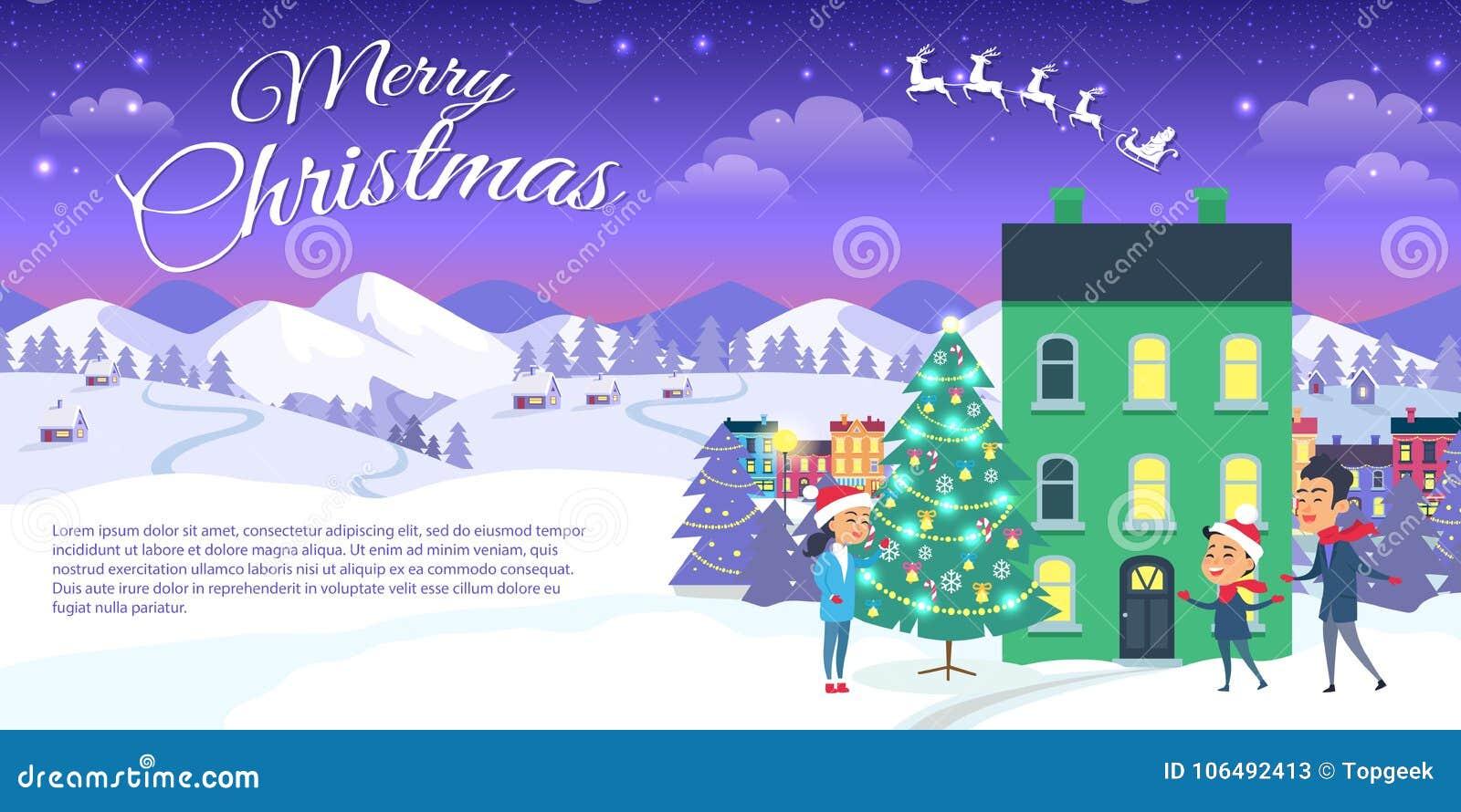 Buon Natale sul fondo del cielo blu e della città