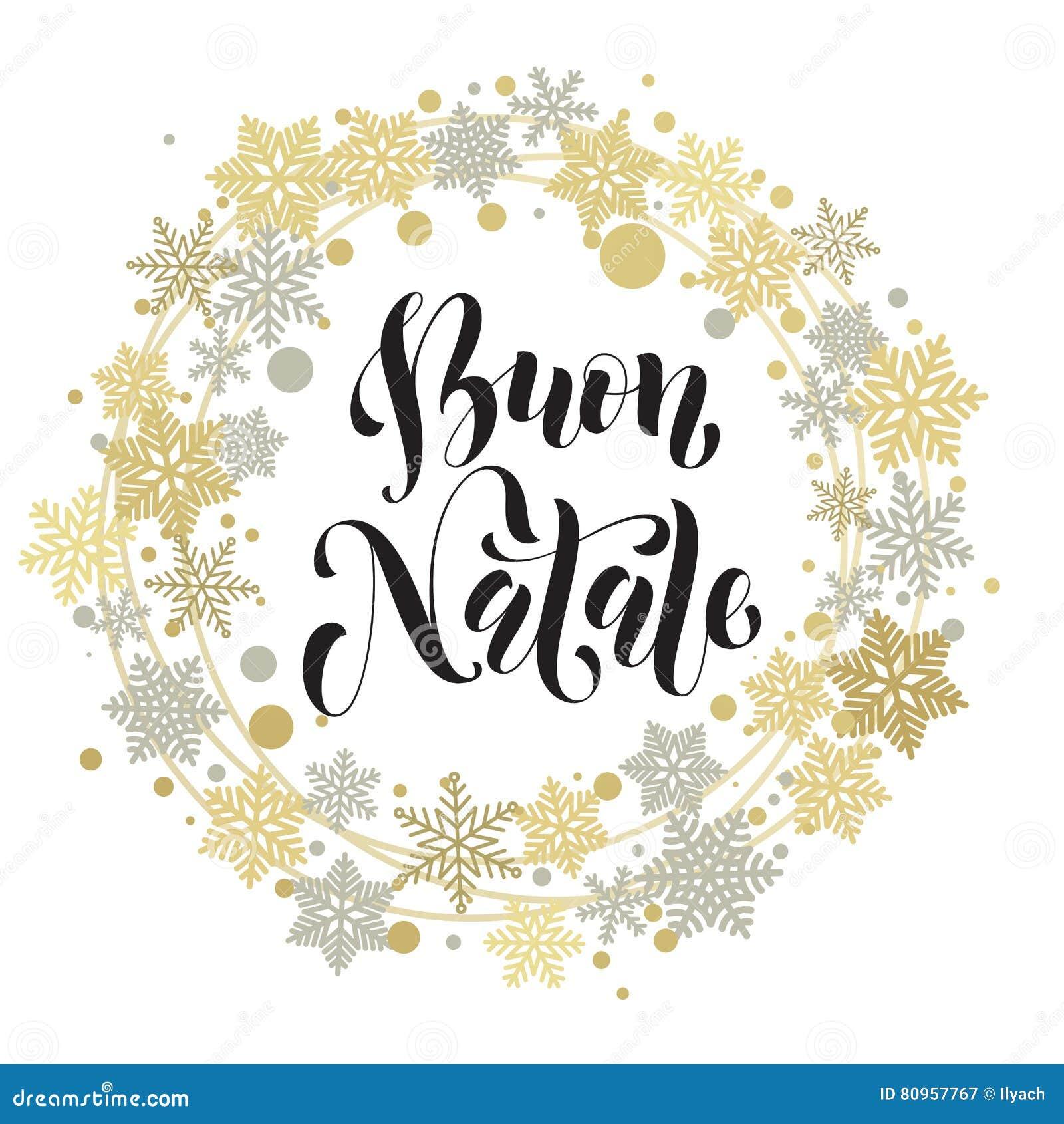 Buon Natale, Texte Italien De Joyeux Noël, Carte De Voeux
