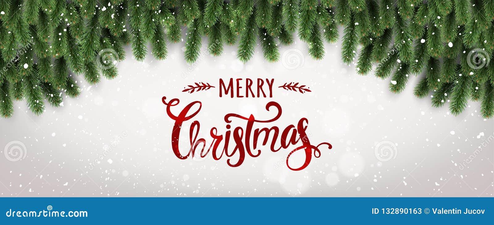 Buon Natale tipografico su fondo bianco con i rami di albero decorati con le stelle, luci, fiocchi di neve