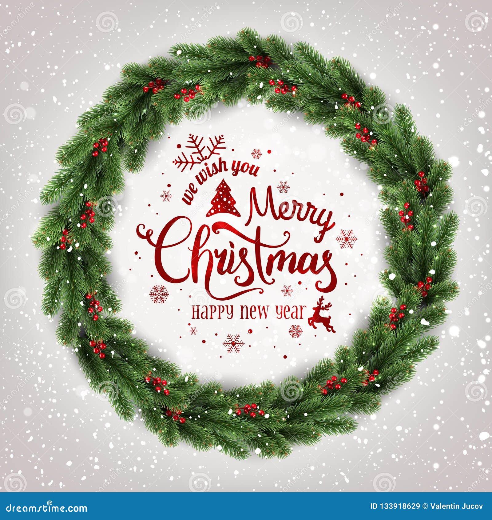Buon Natale tipografico su fondo bianco con la corona di Natale dei rami di albero, bacche, luci, fiocchi di neve