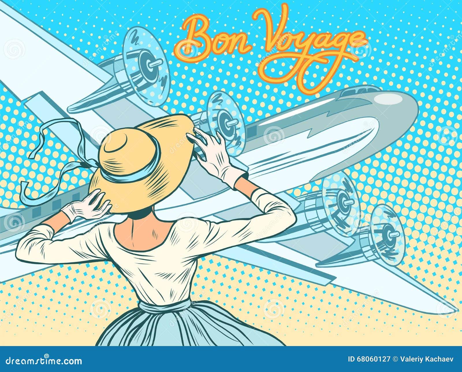 Extrêmement Buon Viaggio La Ragazza Accompagna Gli Aerei Illustrazione  AF76