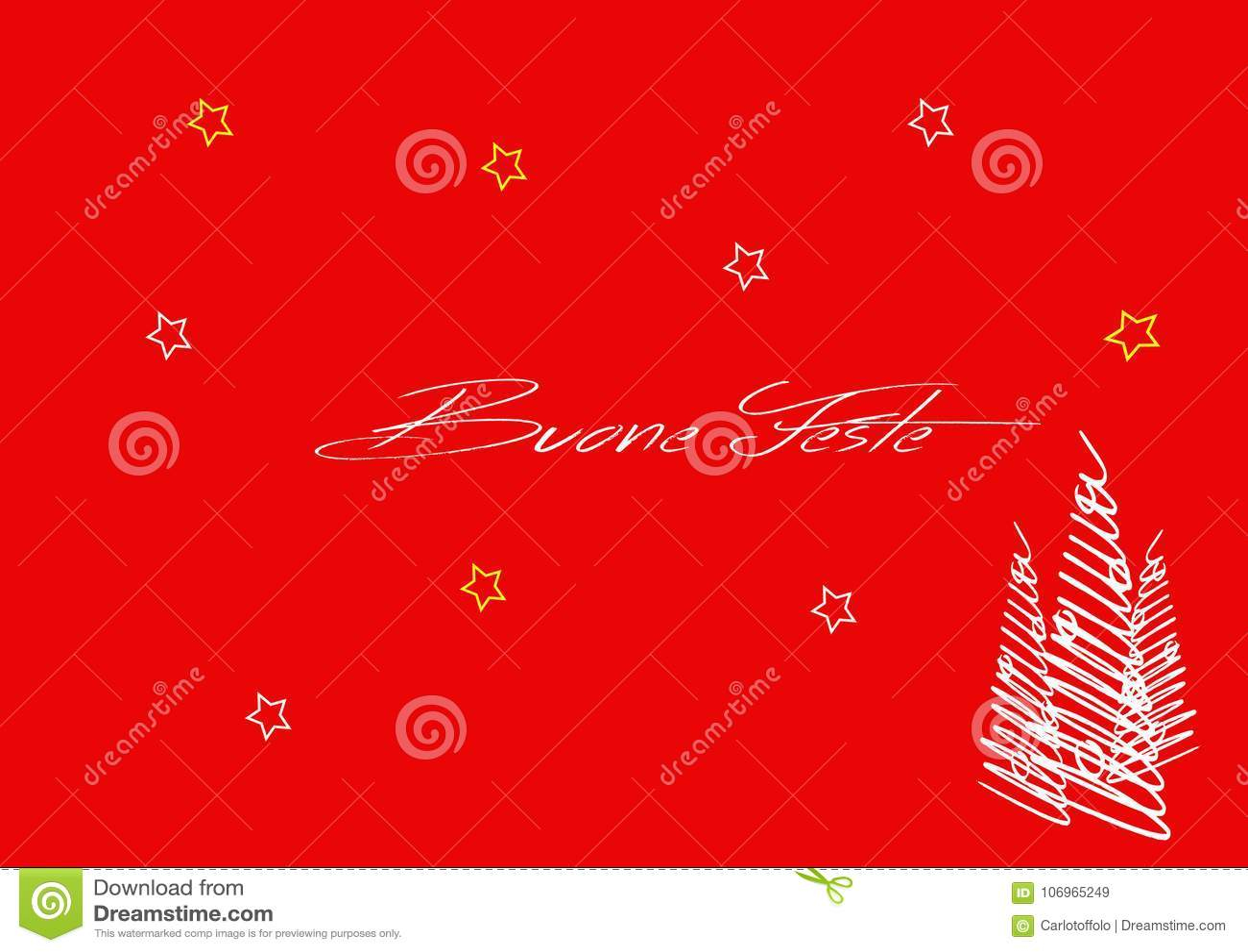 Buone Feste Greetings Card Italian Language Greetings Stock Vector