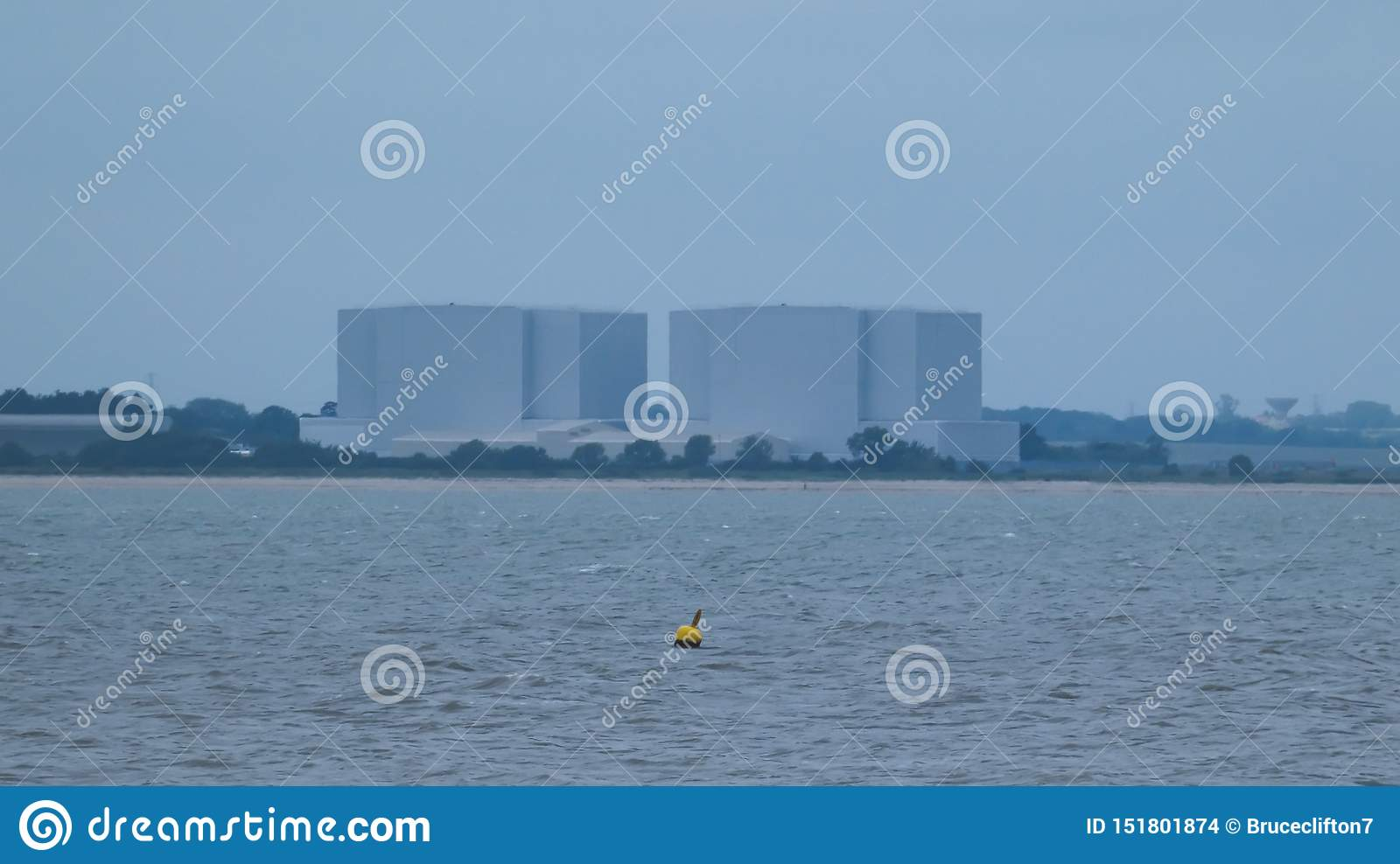 Buoy in front of a nuclear power station in England before the storm