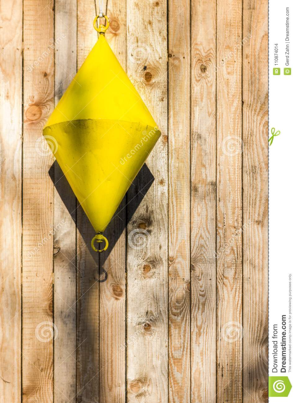 Buoy, Yellow, Cone-shaped Hangs As A Decoration In Front Of Boar ...