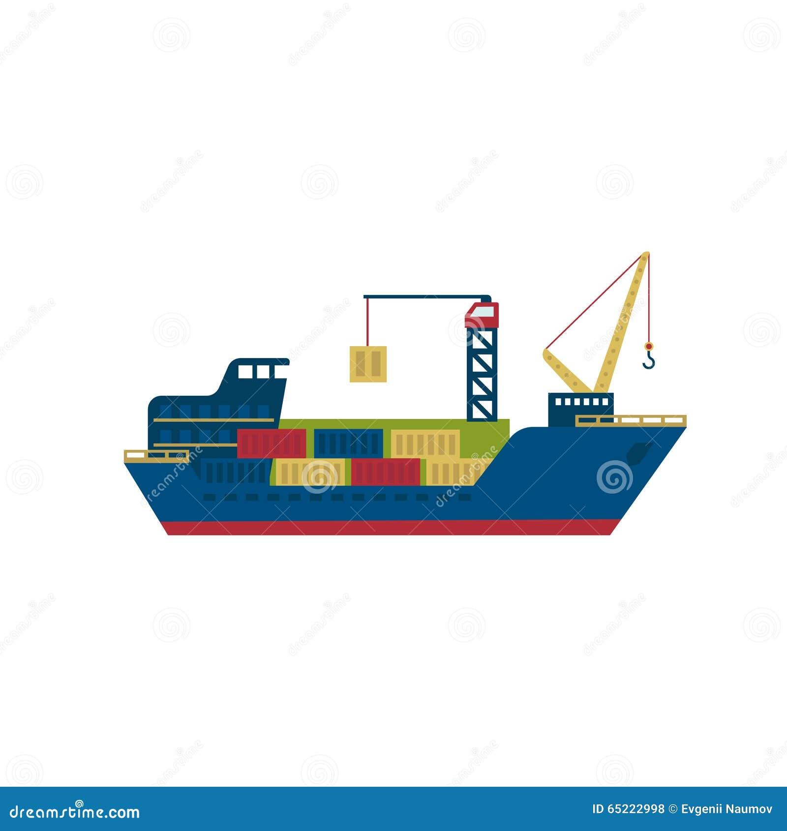 Buque de carga del petrolero con los envases Vector