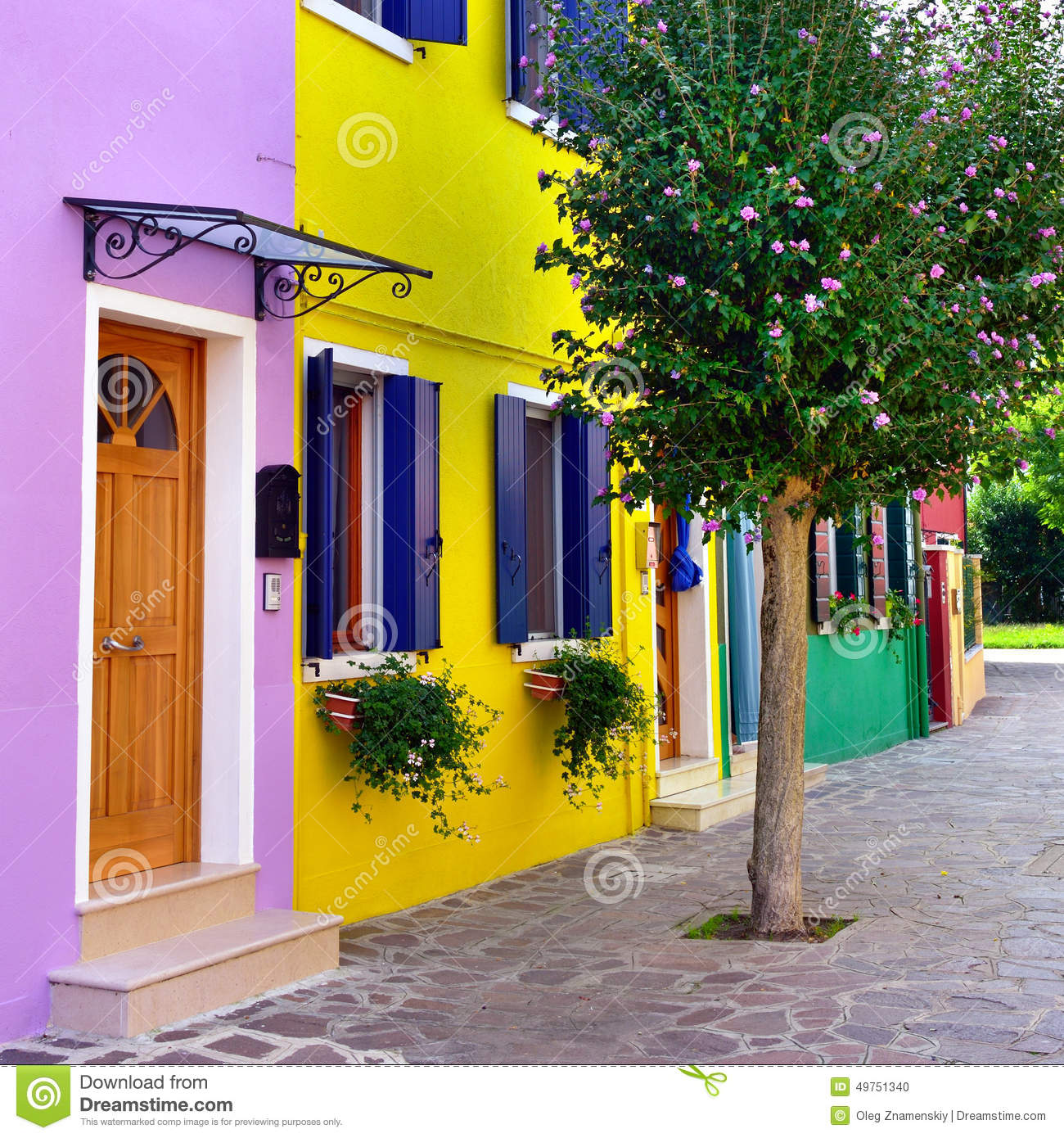 Burano island venice stock photo image 49751340 for Colorful tree house