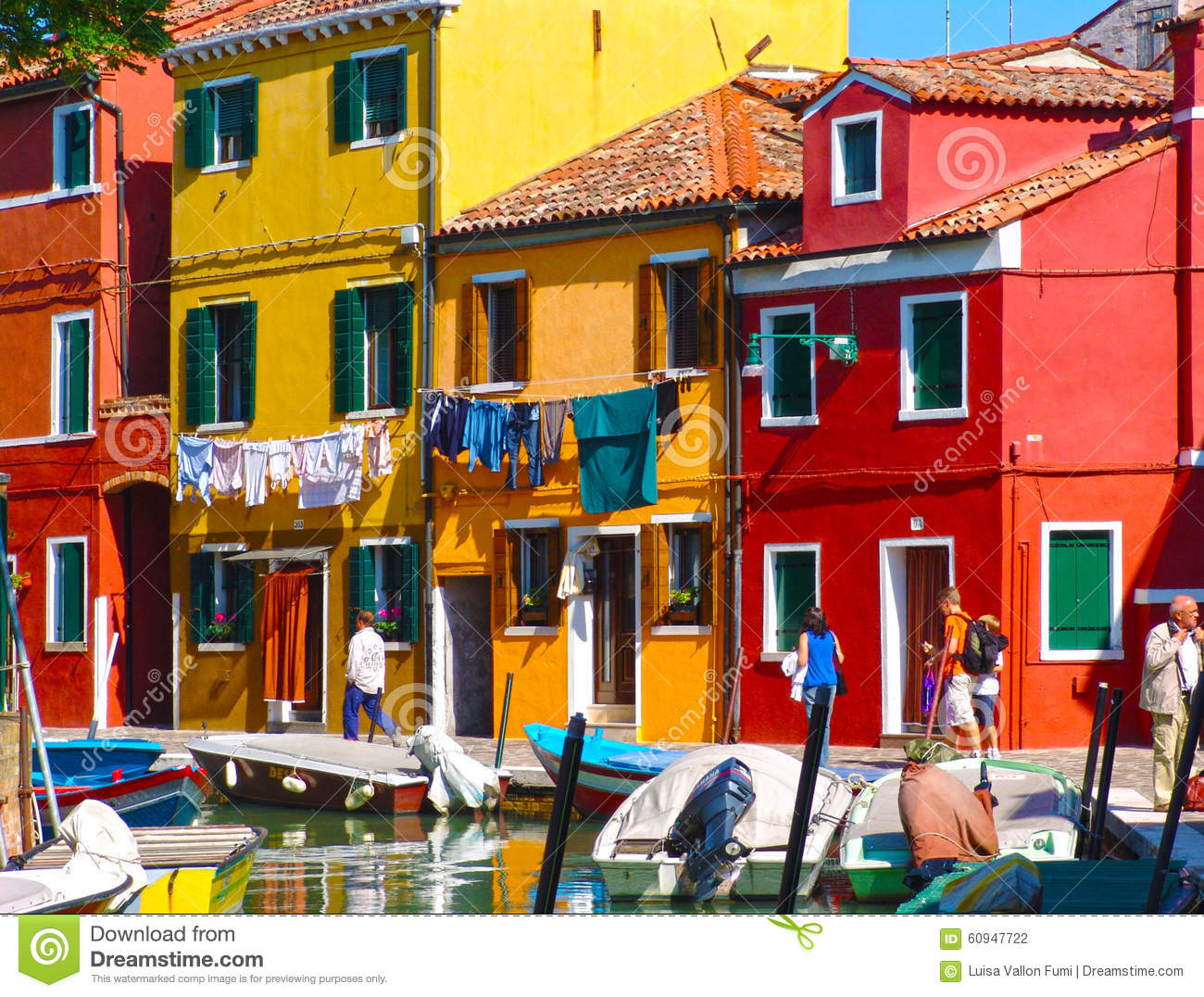 Burano Venice Painted Houses With Hanging Laundry Sea