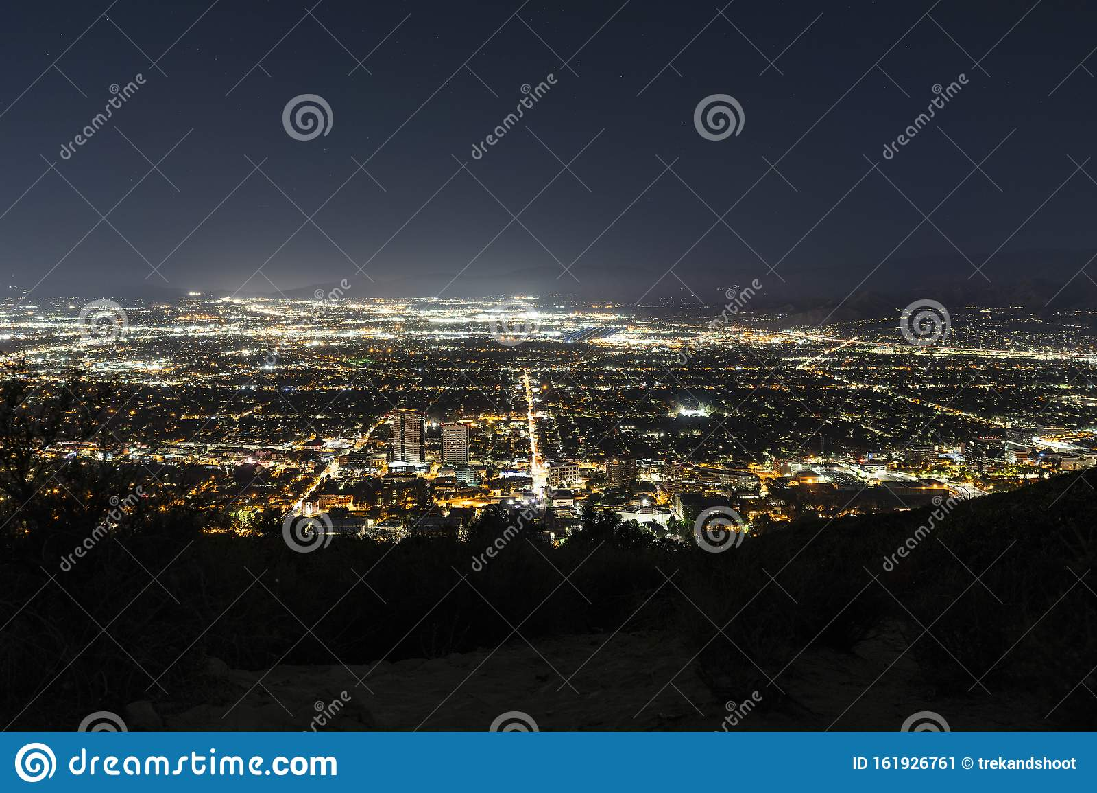 Burbank and San Fernando Valley Night Lights Stock Image   Image ...