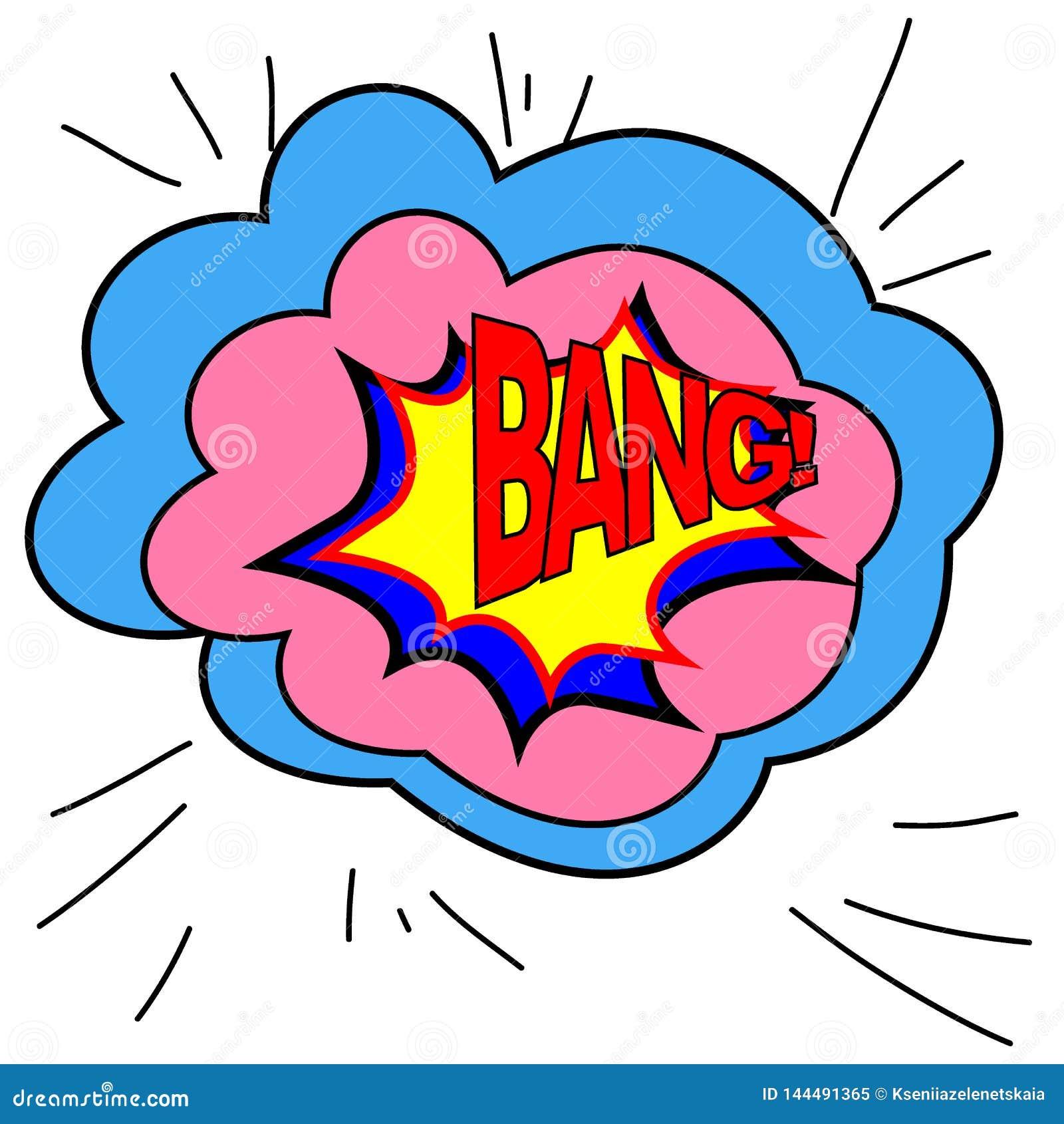 Burbuja de la expresión con estilo del arte pop de la explosión Estilo del cómic El ejemplo del vector, los efectos sonoros GOLPE