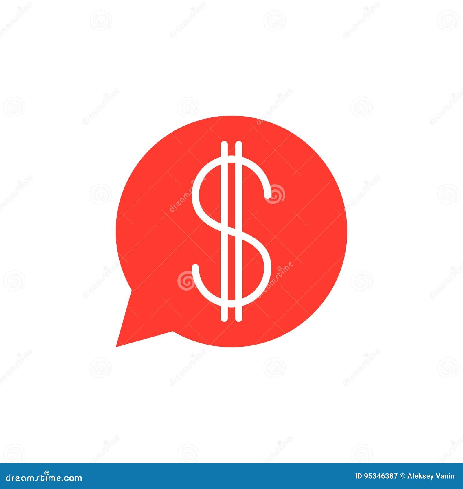 Burbuja del discurso con el vector del icono de la muestra de dólar, símbolo plano llenado,