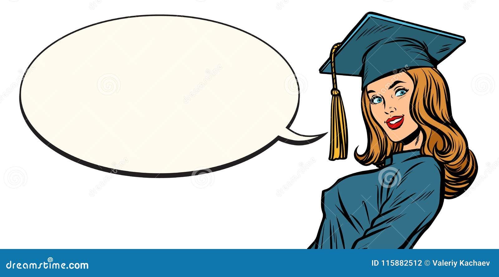 Burbuja Graduada Del Cómic De La Hembra Ilustración Del
