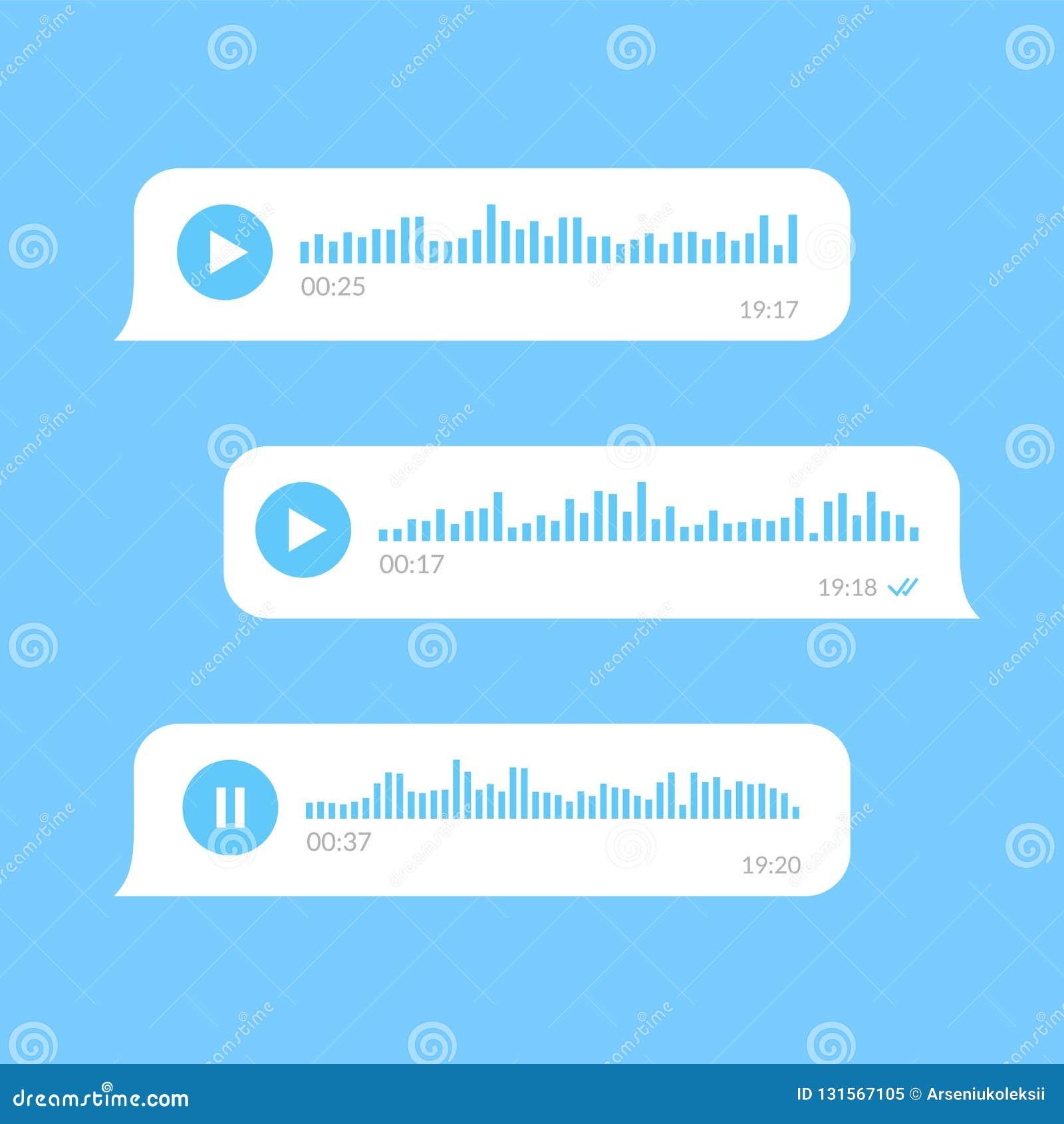 Burbujas blancas de los mensajes de la voz en fondo azul