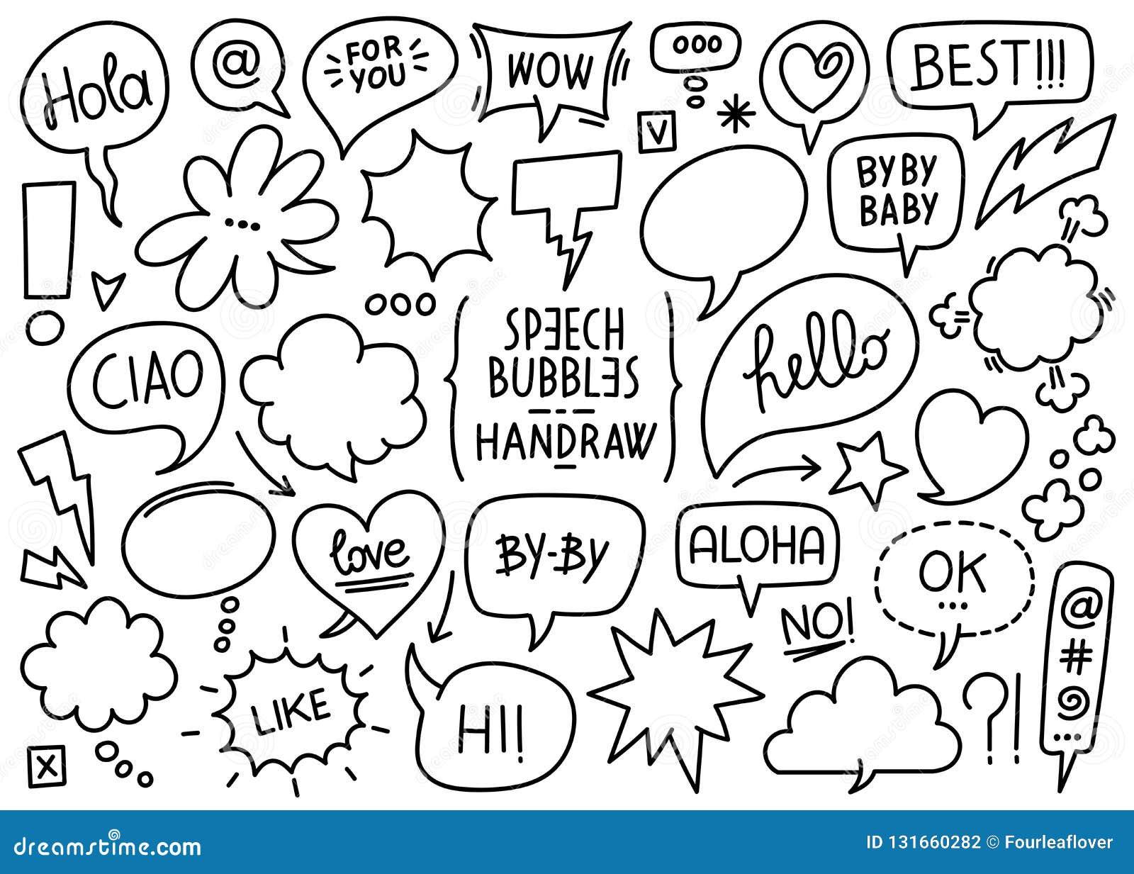Burbujas bosquejadas vector del discurso
