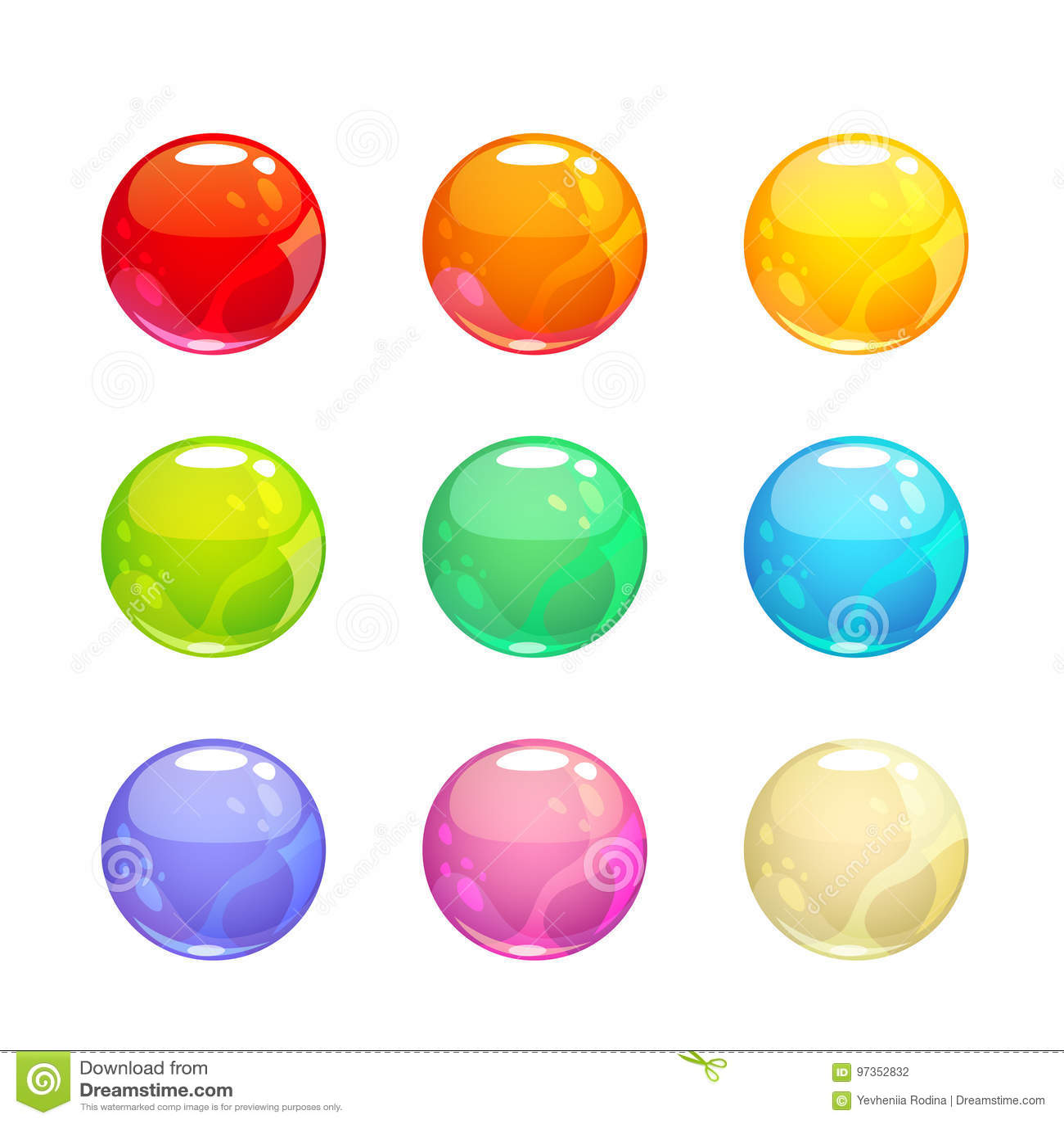 Burbujas brillantes coloridas fijadas