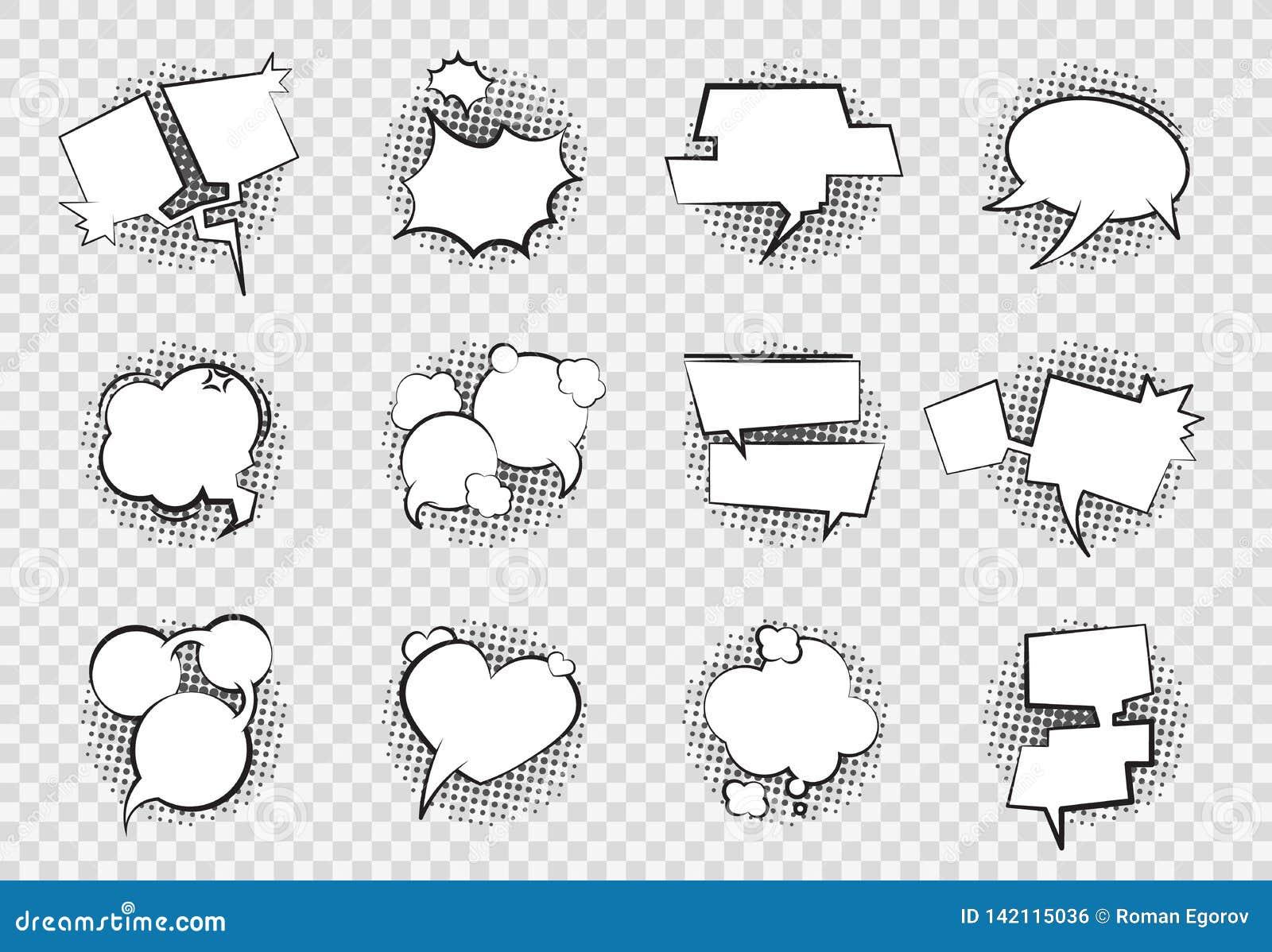 Burbujas cómicas del discurso Dibujo retro del diálogo del arte del chapoteo del auge del globo de la charla de la historieta de