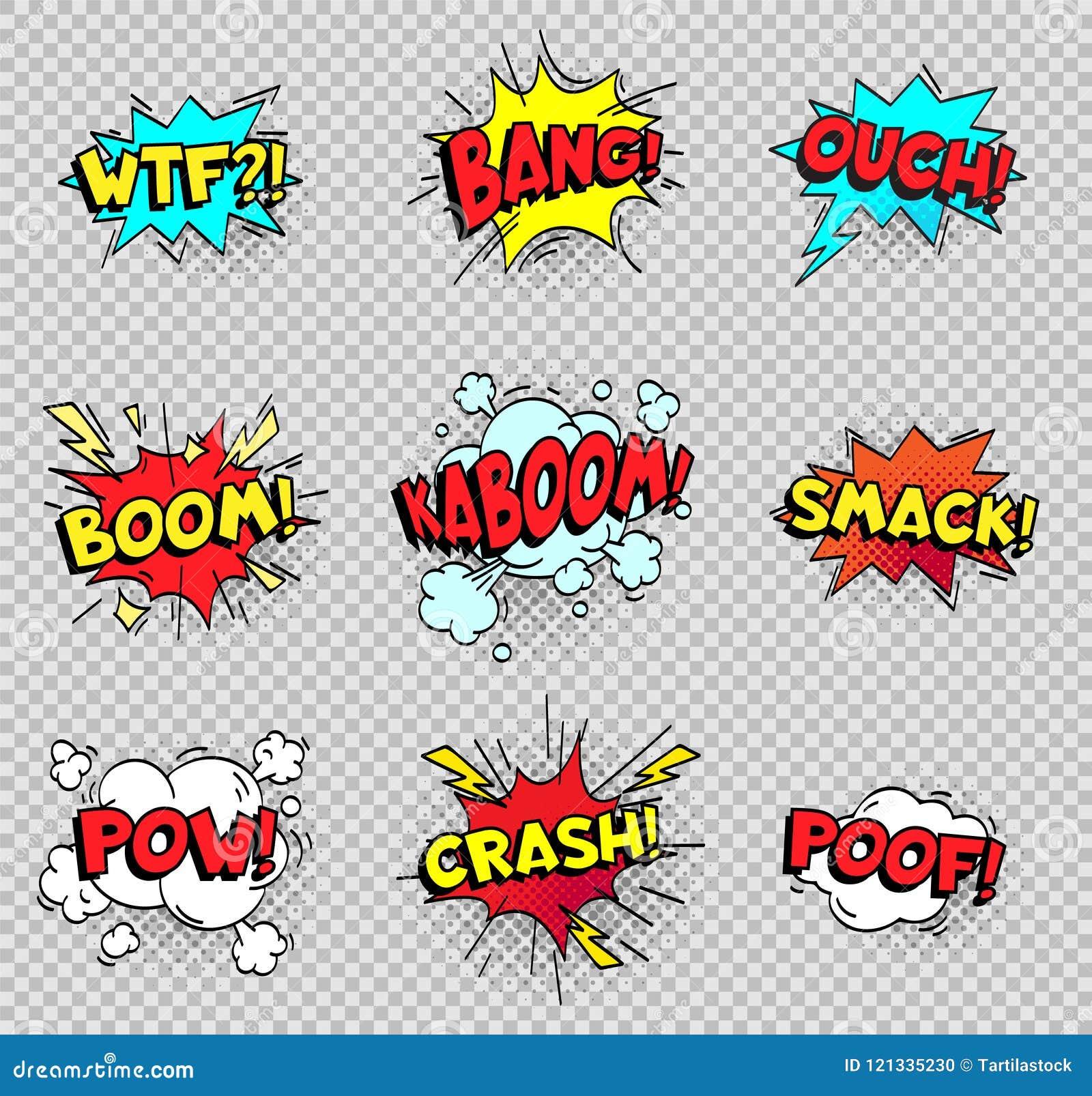 Burbujas cómicas del discurso Globos del texto de las explosiones de la historieta El vector que hace estallar del poof del despl
