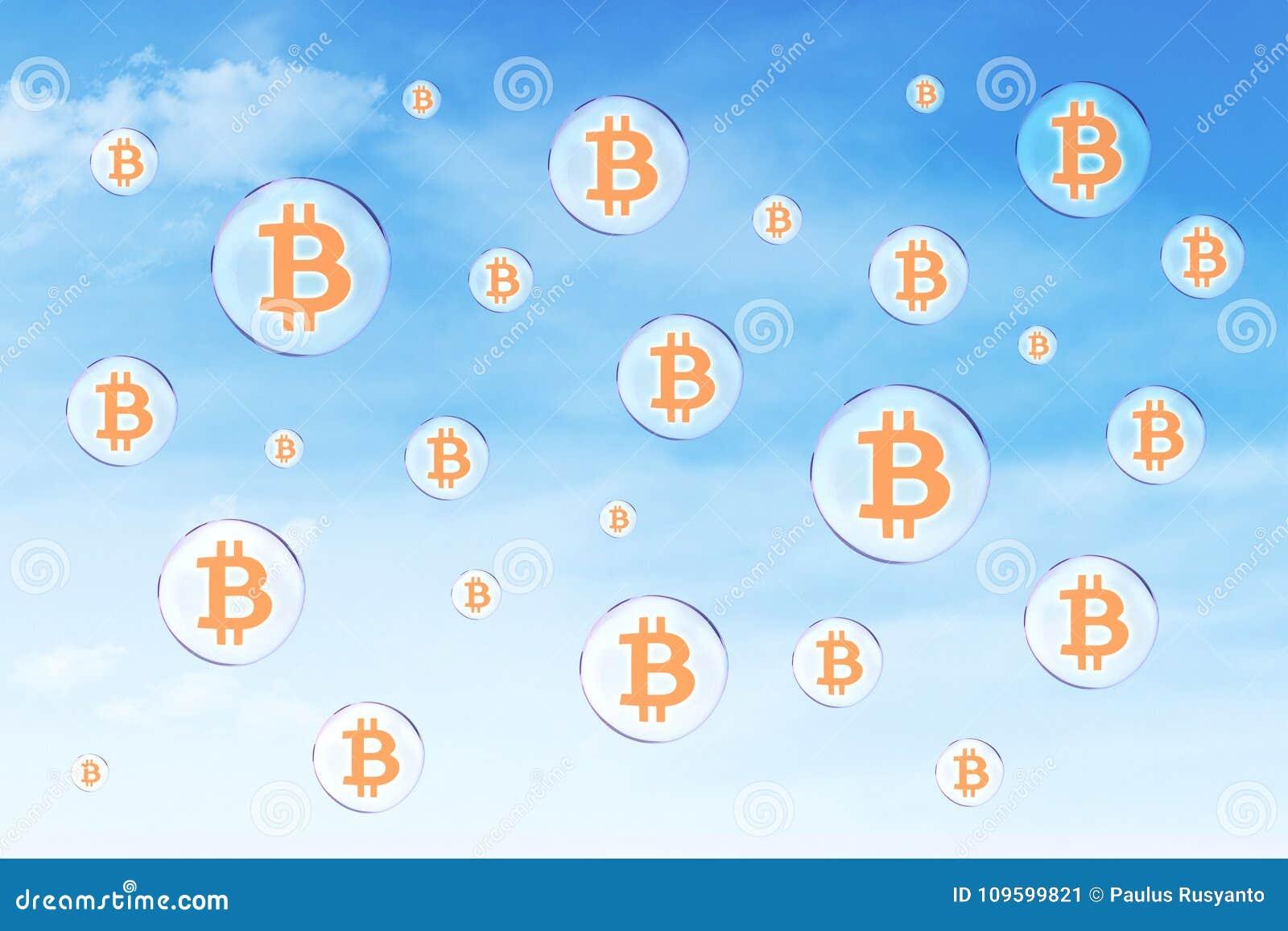Burbujas de jabón con símbolo del bitcoin