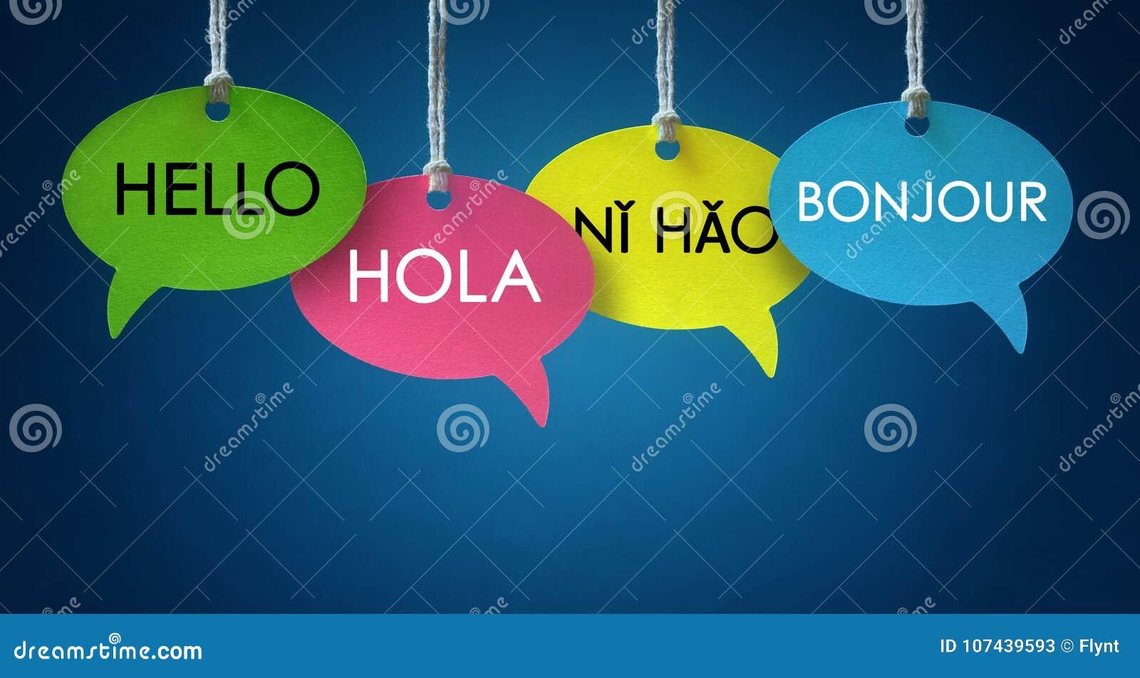 Burbujas del discurso de la comunicación de idioma extranjero