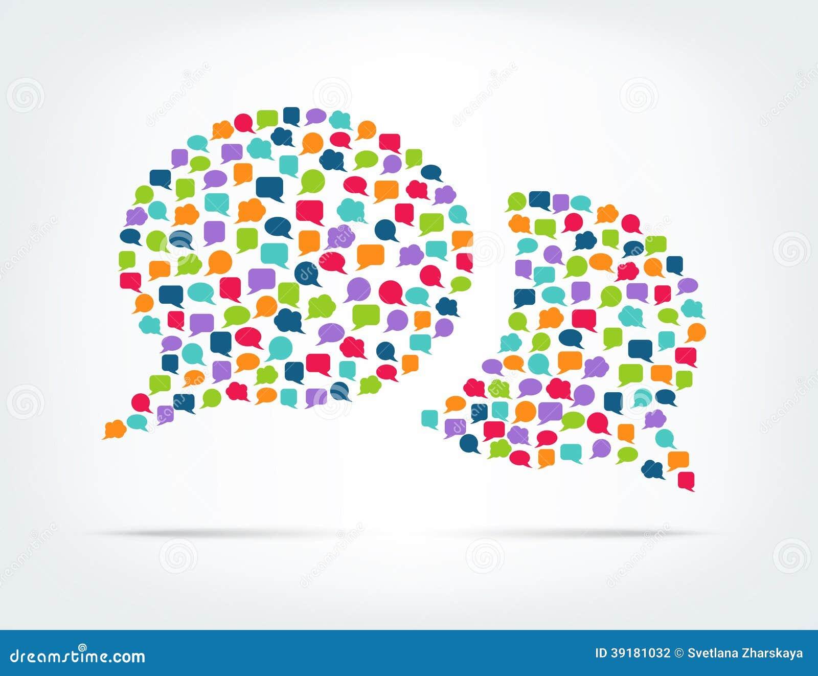 Burbujas del discurso formadas de burbujas coloridas