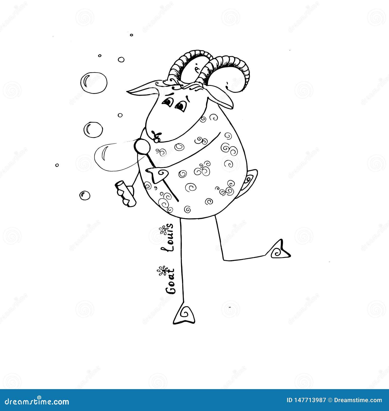 Burbujas felices del soplo de Louis de la cabra