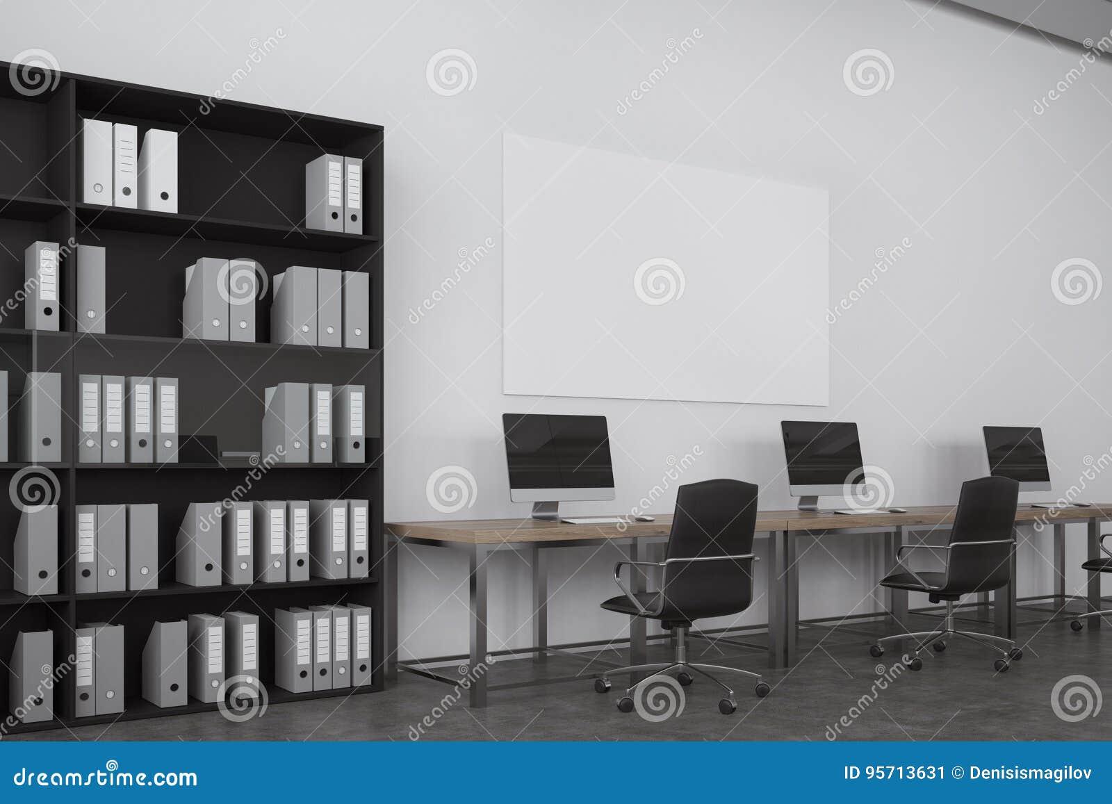 Bureau blanc de l espace ouvert bibliothèque illustration stock