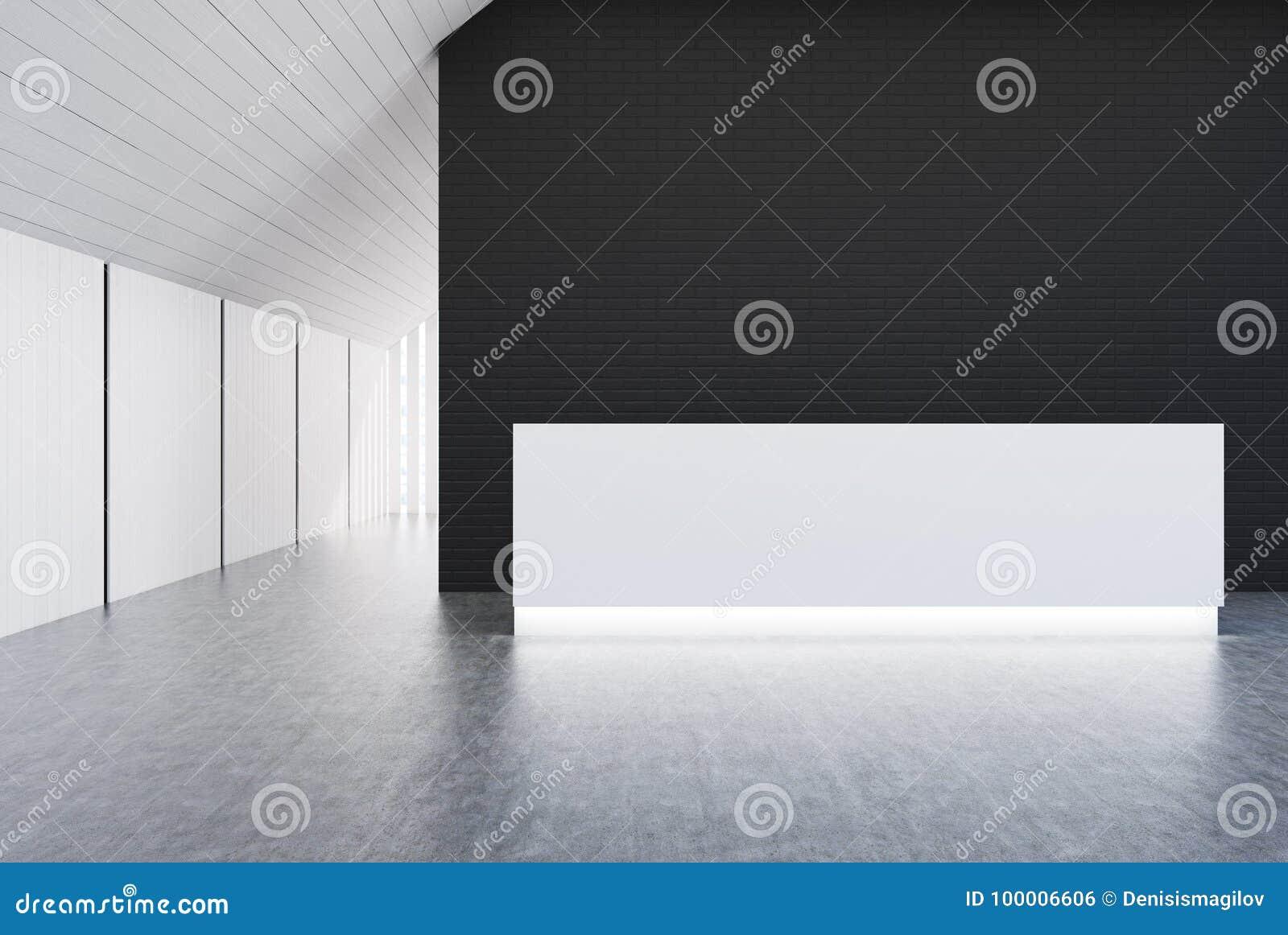 Bureau blanc et noir de mur réception blanche illustration stock