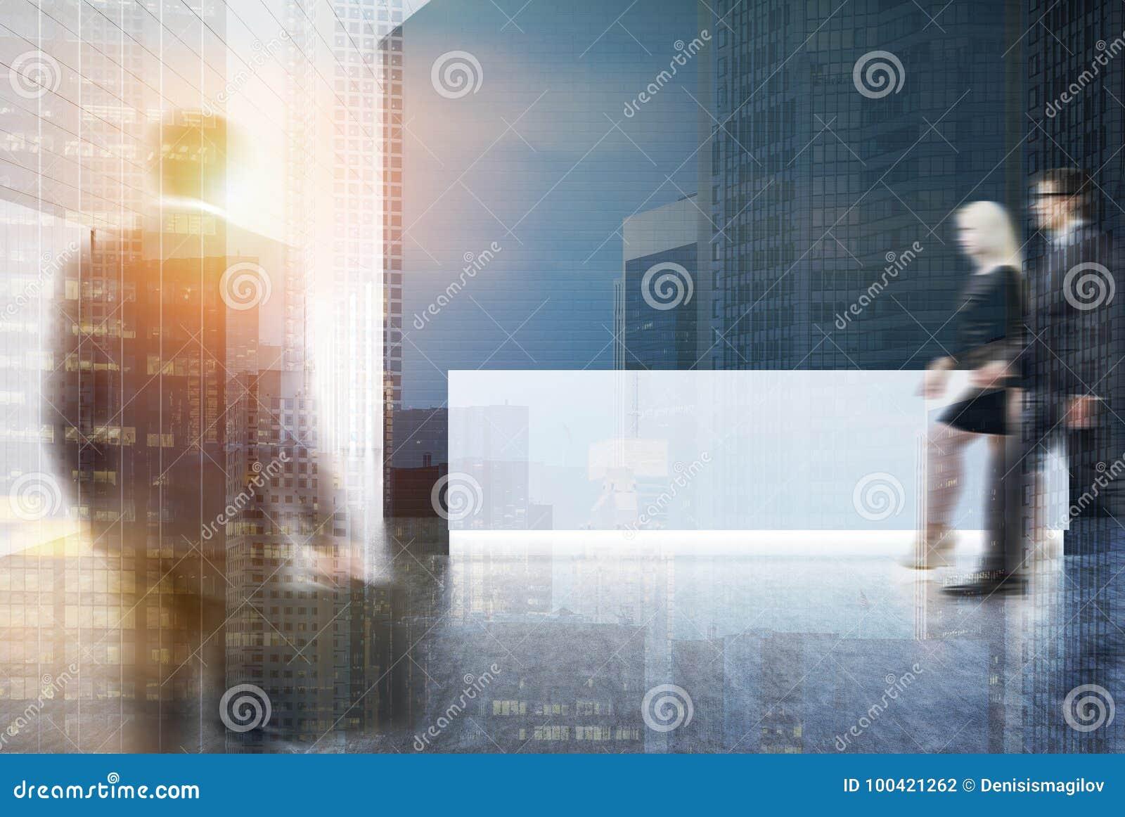 Bureau blanc et noir de mur réception blanche hommes illustration