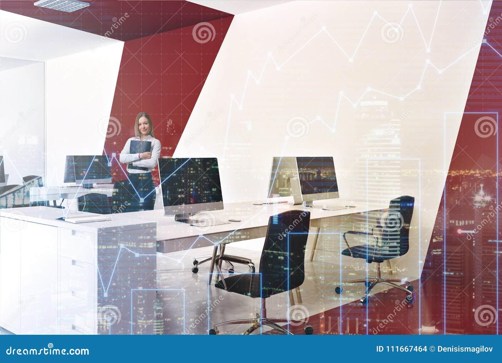 Bureau blanc et rouge de l espace ouvert femme photo stock