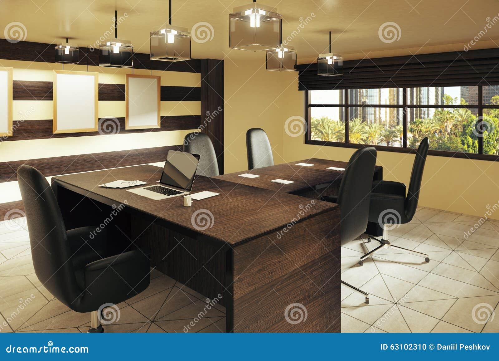 Bureau brun moderne de style avec la vue de meubles et de rue