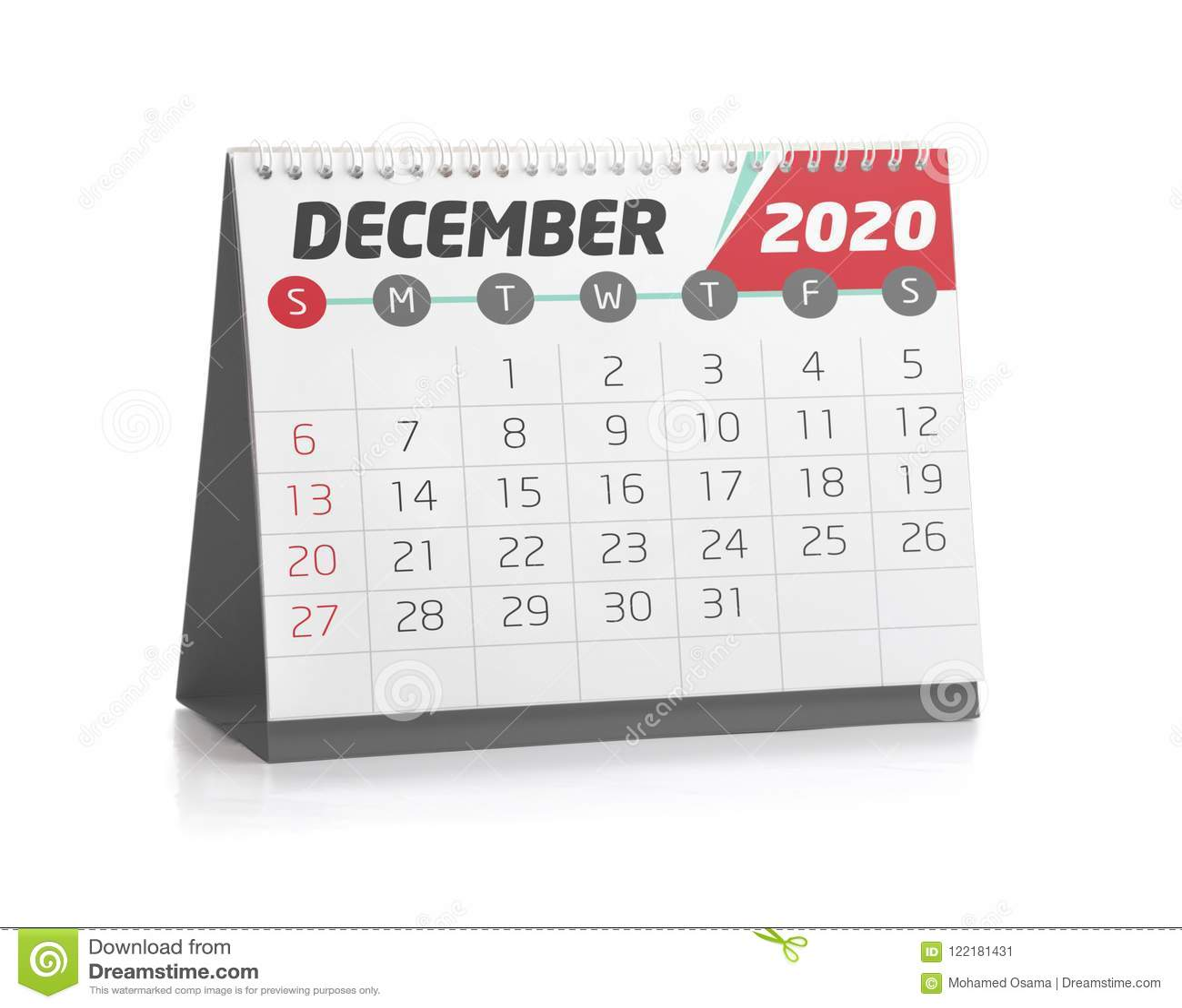 Calendrier De Decembre 2020.Bureau Calendrier En Decembre 2020 Illustration Stock