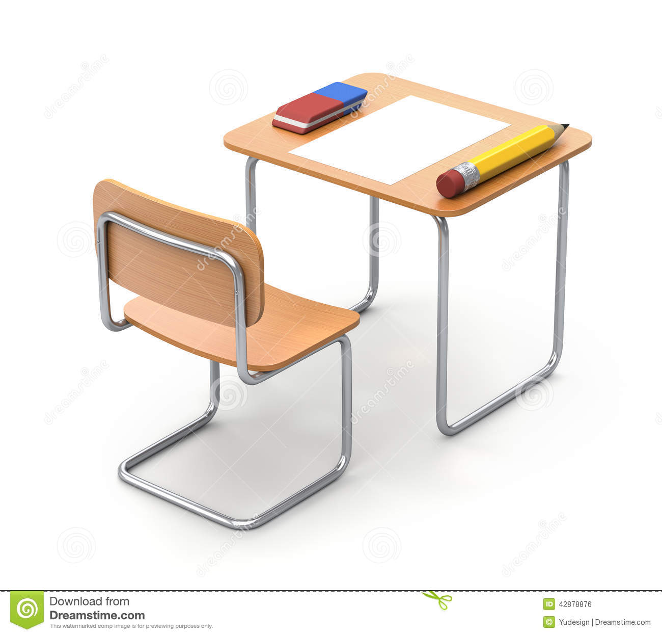 bureau d 39 cole avec le crayon et la gomme illustration stock image 42878876. Black Bedroom Furniture Sets. Home Design Ideas