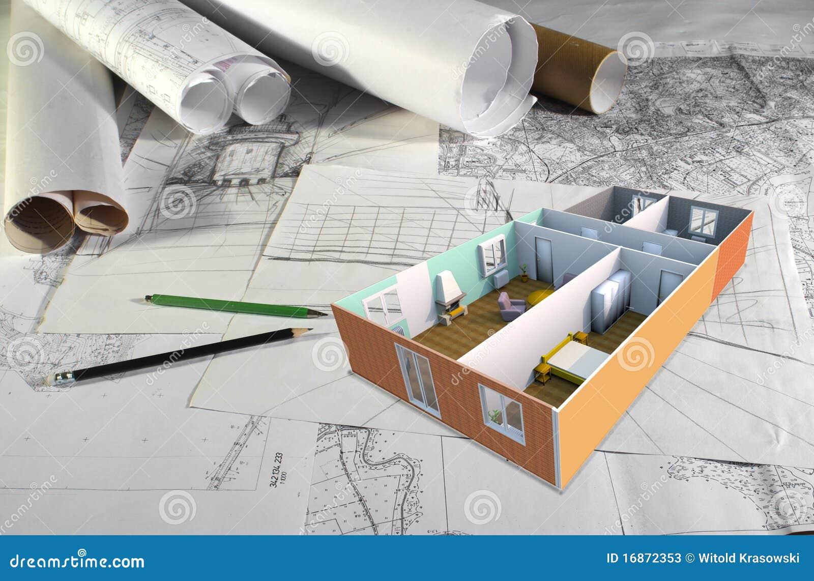 bureau d 39 architecte image stock image du blanc bureau. Black Bedroom Furniture Sets. Home Design Ideas