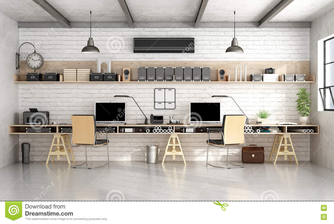 bureau d 39 architecture ou d 39 ing nierie dans le style industriel illustration stock image 72590353. Black Bedroom Furniture Sets. Home Design Ideas