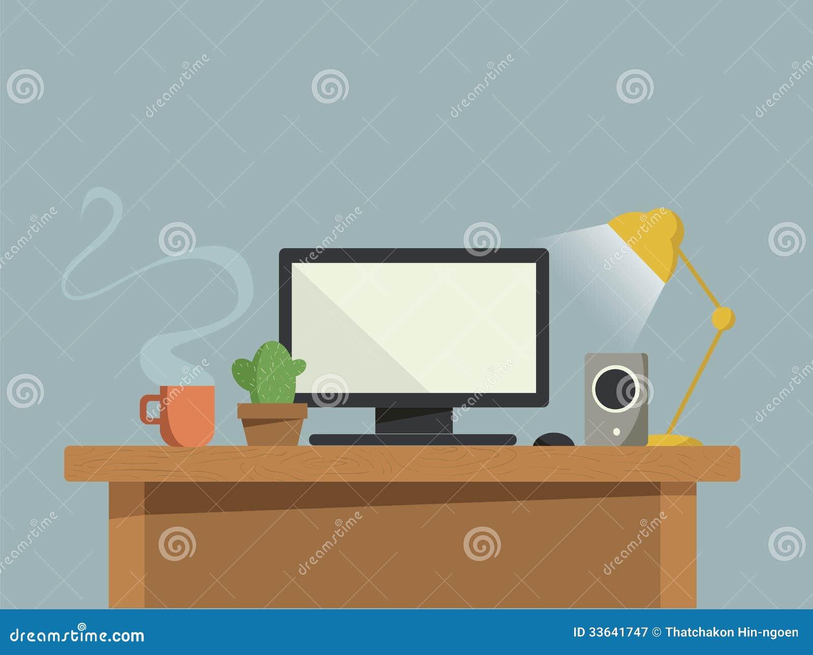 Bureau d 39 ordinateur photographie stock libre de droits - Bureau d ordinateur ...