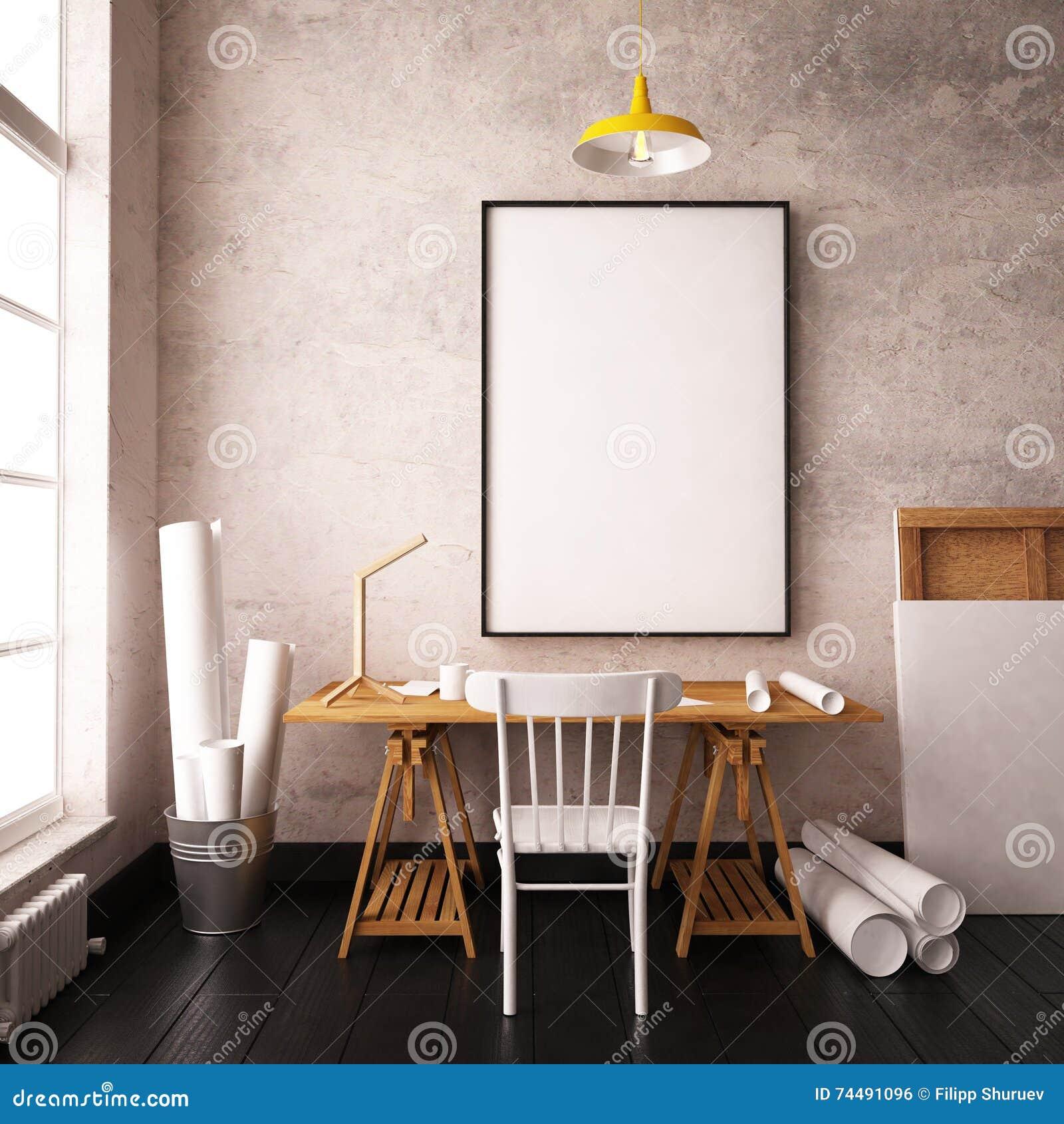 bureau dans le grenier de style de hippie intrieur de maquette avec des affiches 3d