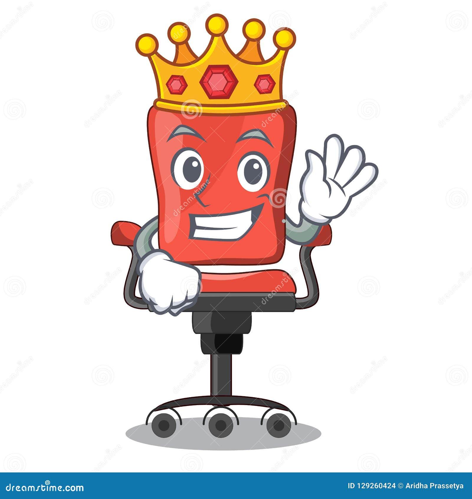 Bureau de chaise de bureau de roi d isolement sur la mascotte
