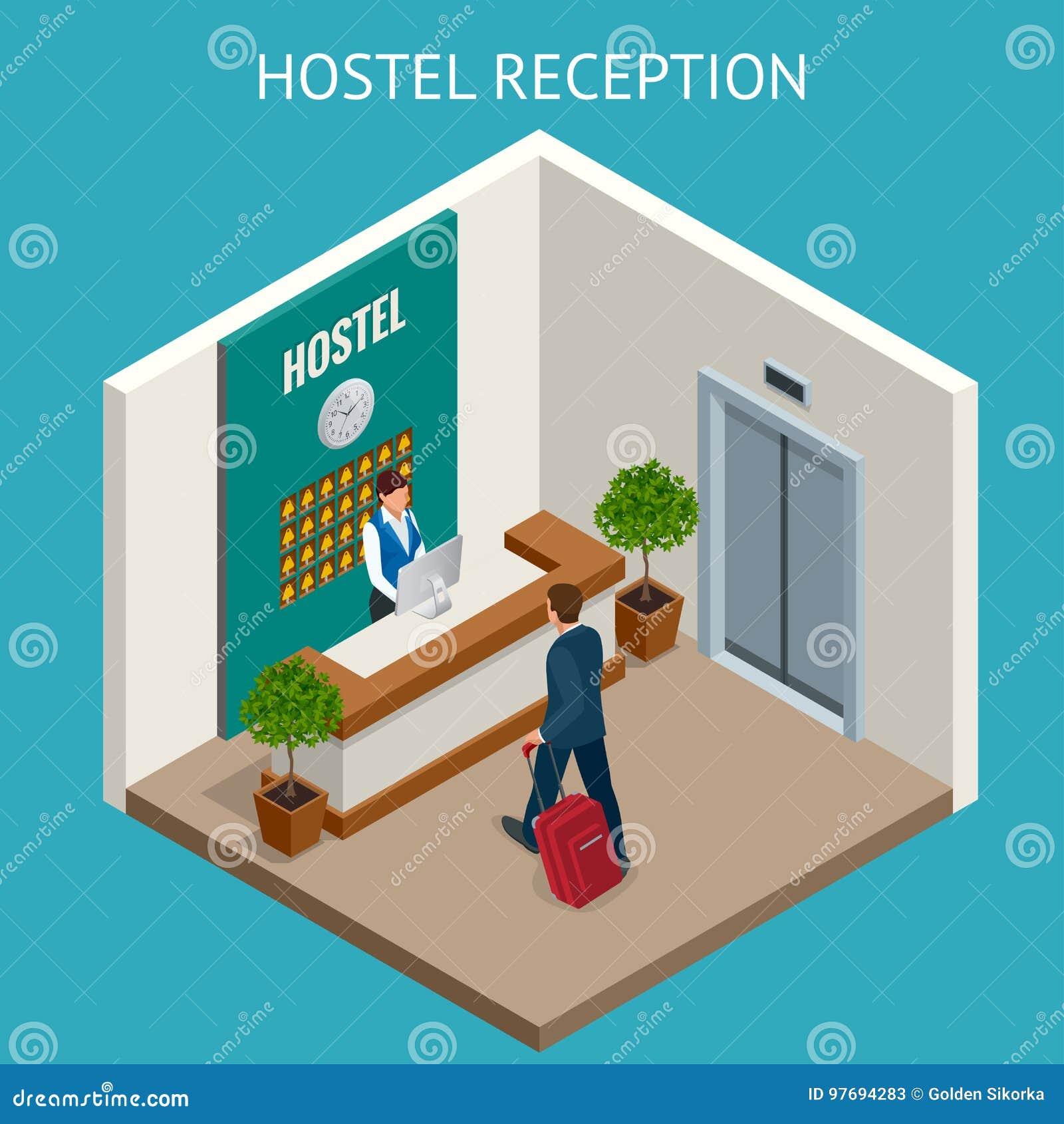 Bureau de compteur de réception d hôtel de luxe de Modern de réceptionniste d hôtel avec la cloche Travailleur féminin heureux de