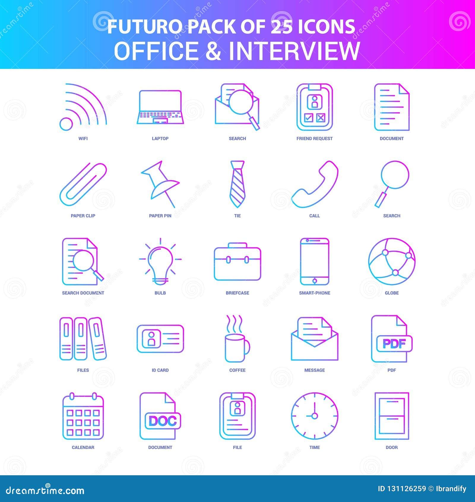 25 bureau de Futuro et paquet bleus et roses d icône d entrevue