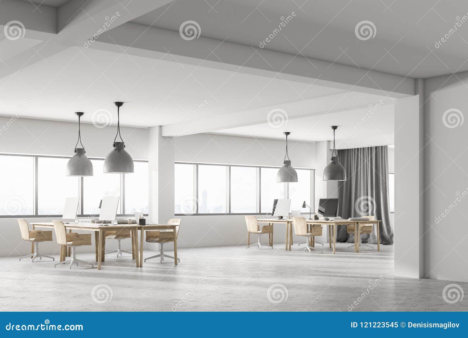 Bureau de luxe blanc de l espace ouvert intérieur vue de côté