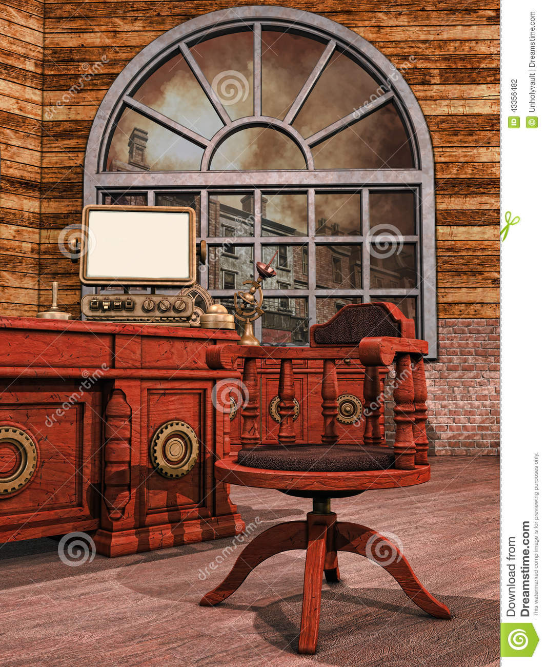 Bureau Steampunk Illustration De StockDu Ordinateur XZiOPku