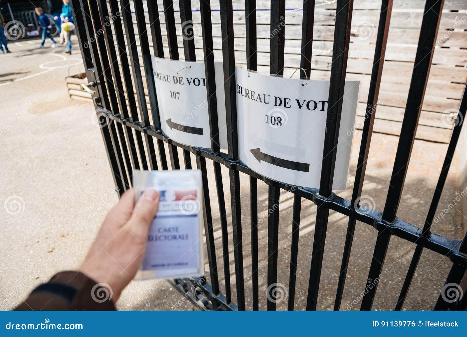 Bureau de vote personal perspective pov editorial photo image of