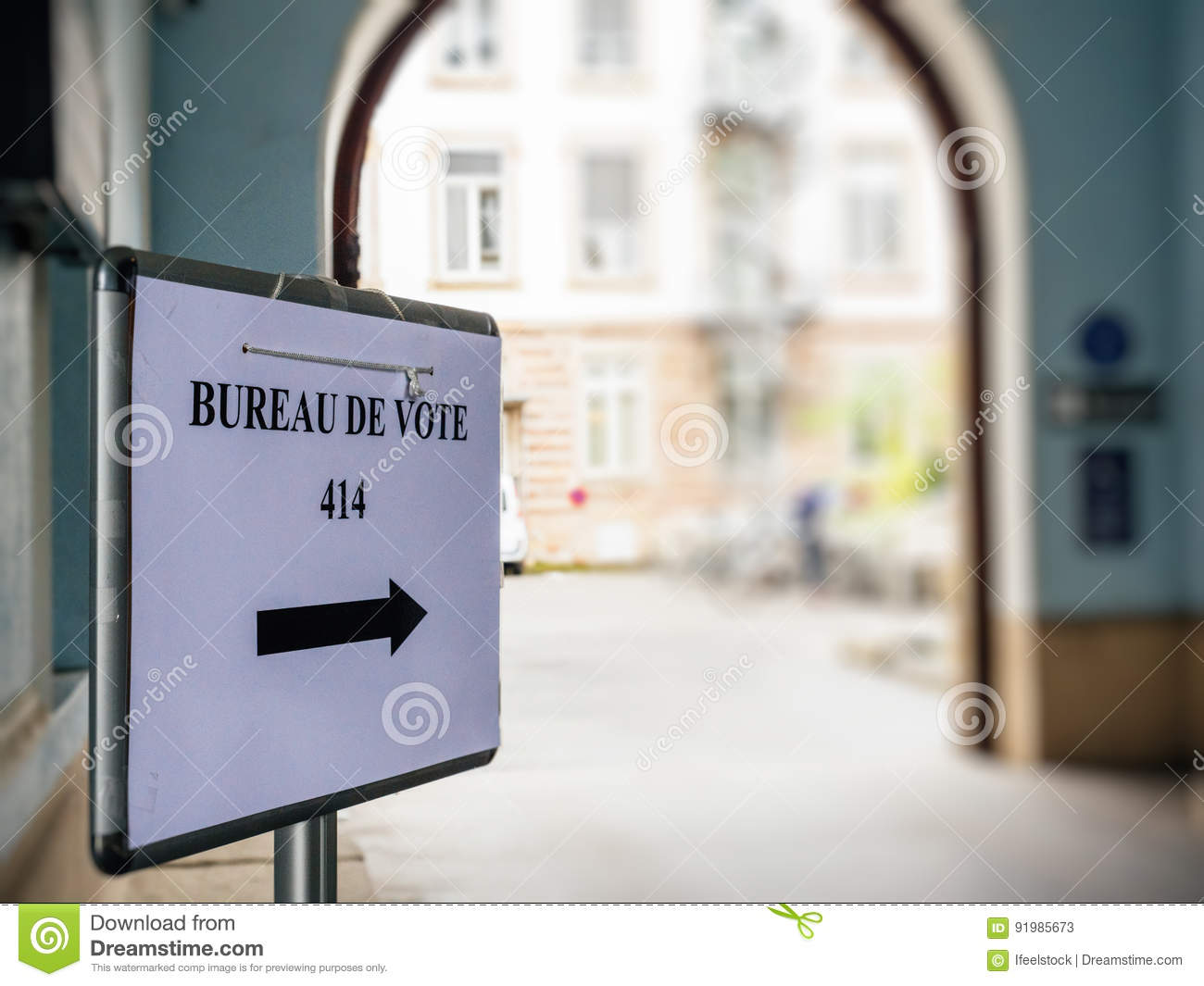 Bureau de vote sign in french city next to pooling place stock