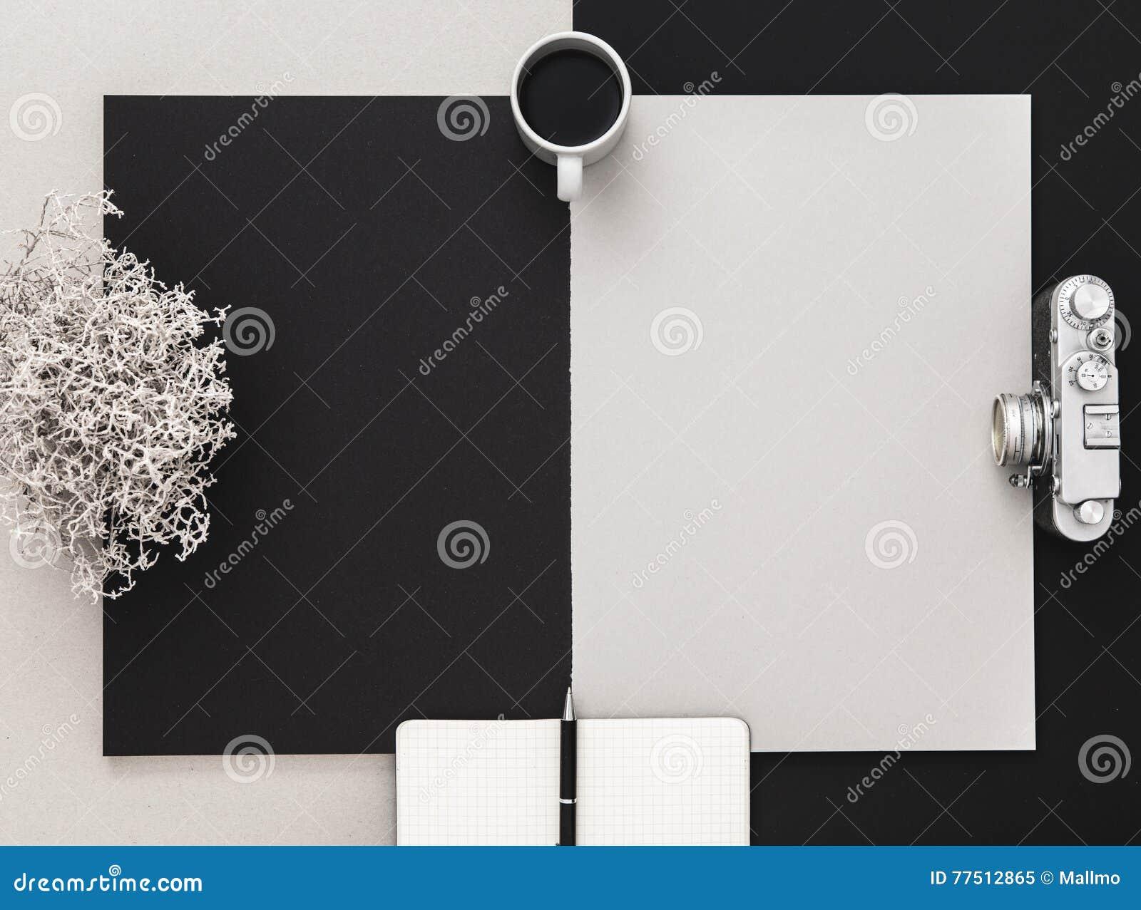 Bureau du ` s de photographe en noir et blanc configuration plate